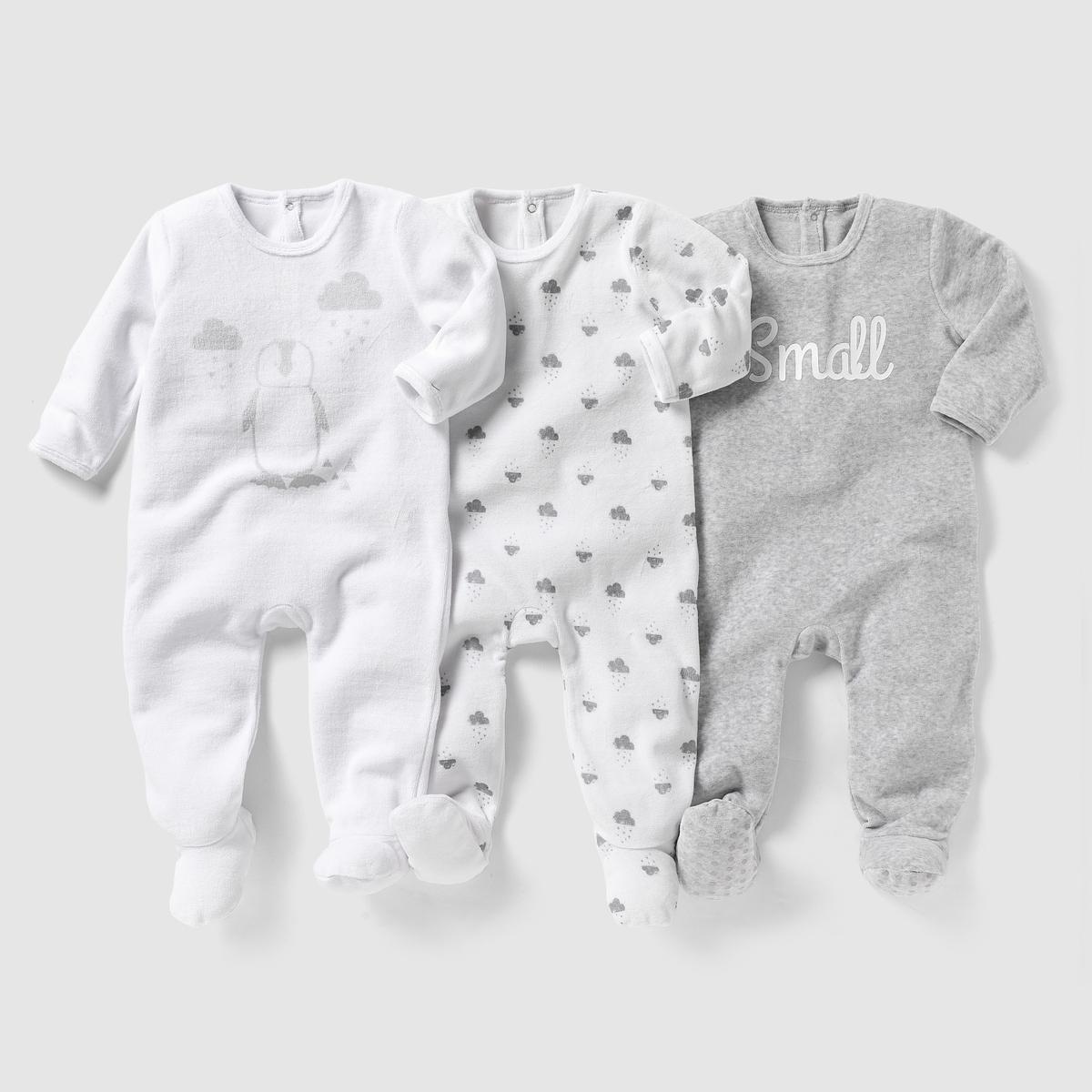 3 пижамы из велюра 0 мес-3 лет