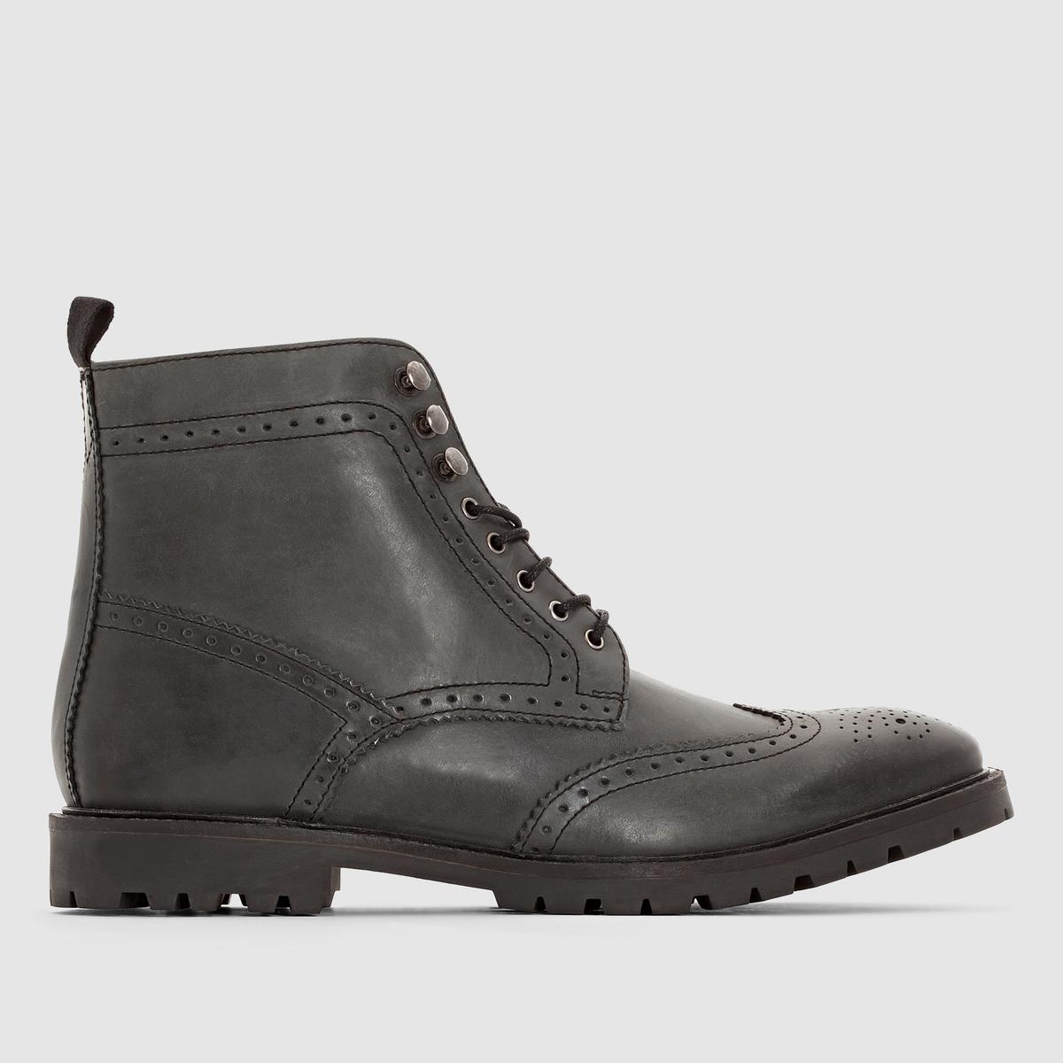 Ботильоны из кожи BASE LONDON TROOPПреимущества : ботильоны BASE LONDON на шнуровке, рифленой подошве и с очень стильным носком с цветочным принтом, модная кожа с эффектом патины .<br><br>Цвет: черный<br>Размер: 44
