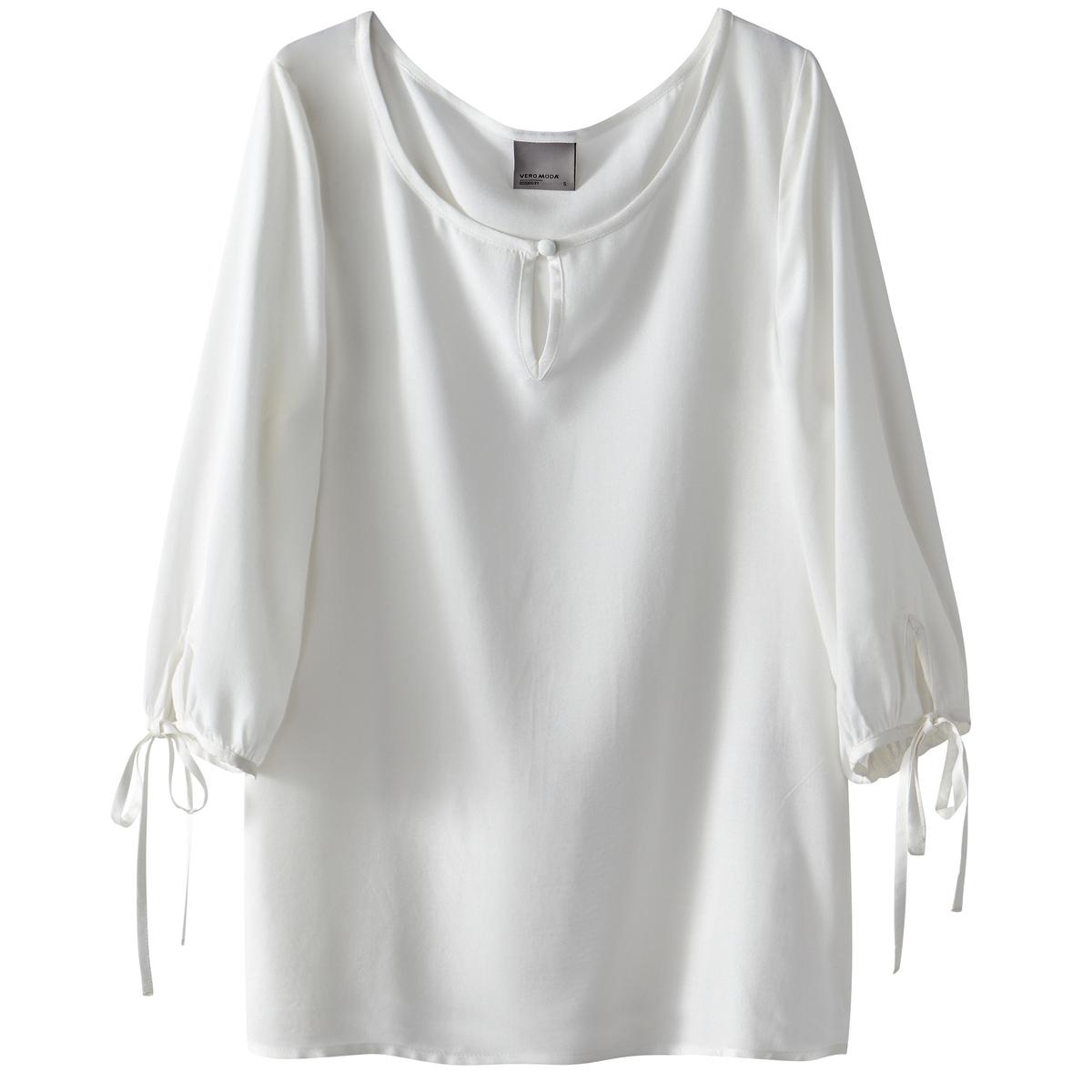 Блузка с рукавами 3/4Материал : 100% вискоза   Длина рукава : рукава 3/4 Форма воротника : круглый вырез Длина блузки: стандартная  Рисунок : однотонная модель Особенность материала :<br><br>Цвет: белый,черный