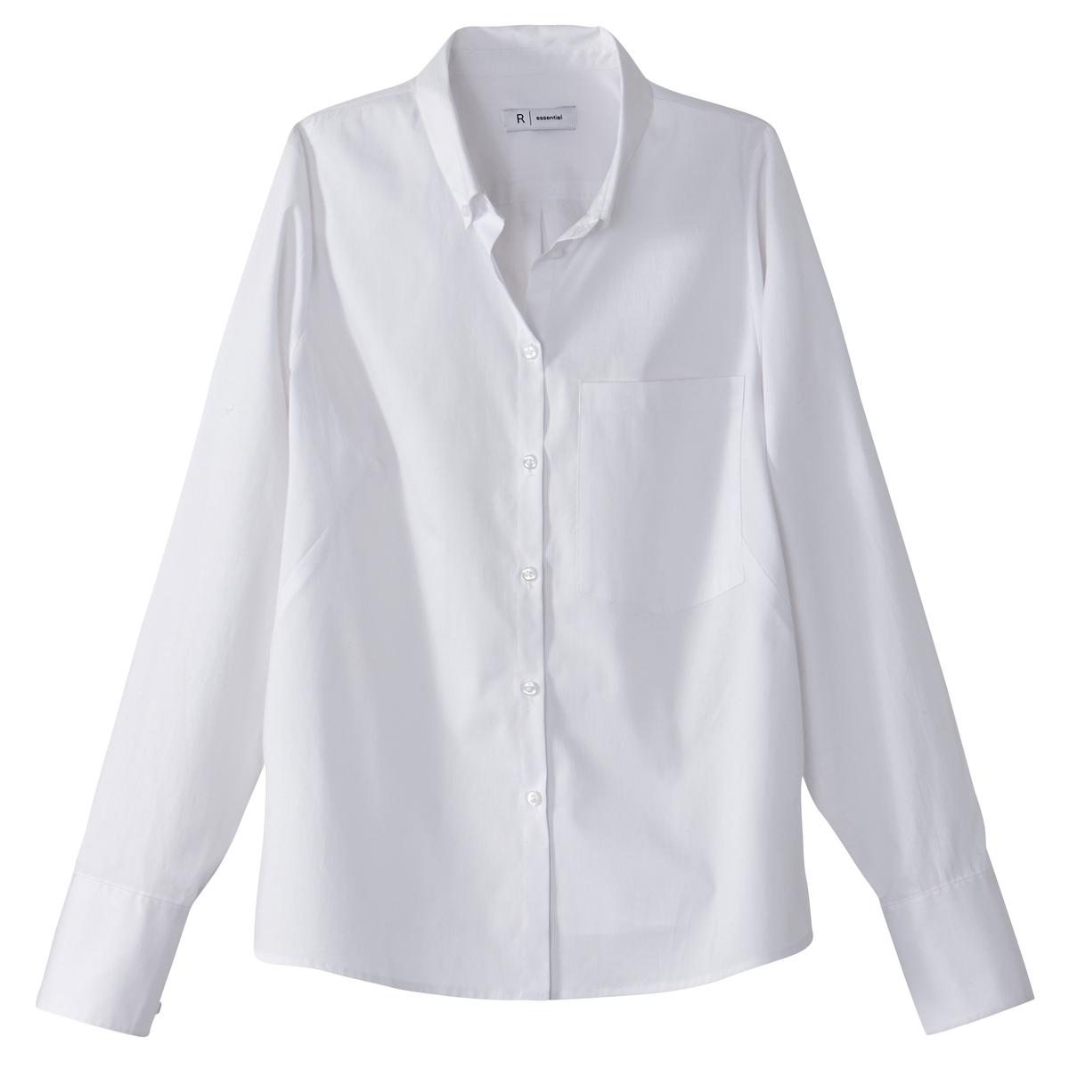 Рубашка хлопковая с длинными рукавамиДетали •  Длинные рукава  •  Прямой покрой  •  Воротник-поло, рубашечный  •  Кончики воротника на пуговицах Состав и уход • 99% хлопка, 1% эластана   •  Температура стирки 30°   •  Сухая чистка и отбеливание запрещены    • Барабанная сушка на слабом режиме       •  Низкая температура глажки<br><br>Цвет: белый<br>Размер: 42 (FR) - 48 (RUS).44 (FR) - 50 (RUS).48 (FR) - 54 (RUS).46 (FR) - 52 (RUS)