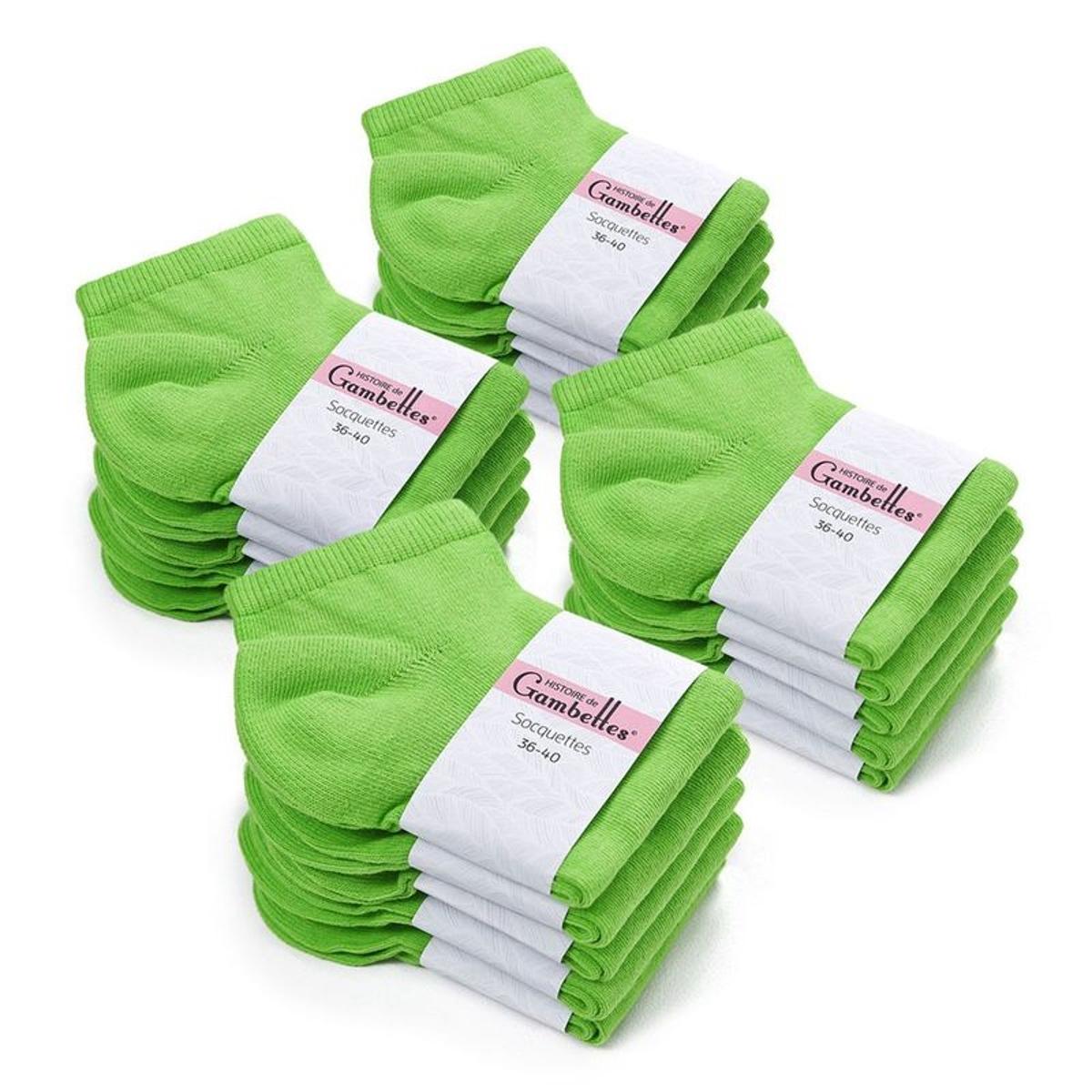 Socquettes Femme coton Vert Prairie (Lot de 20) - Fabriqué en europe