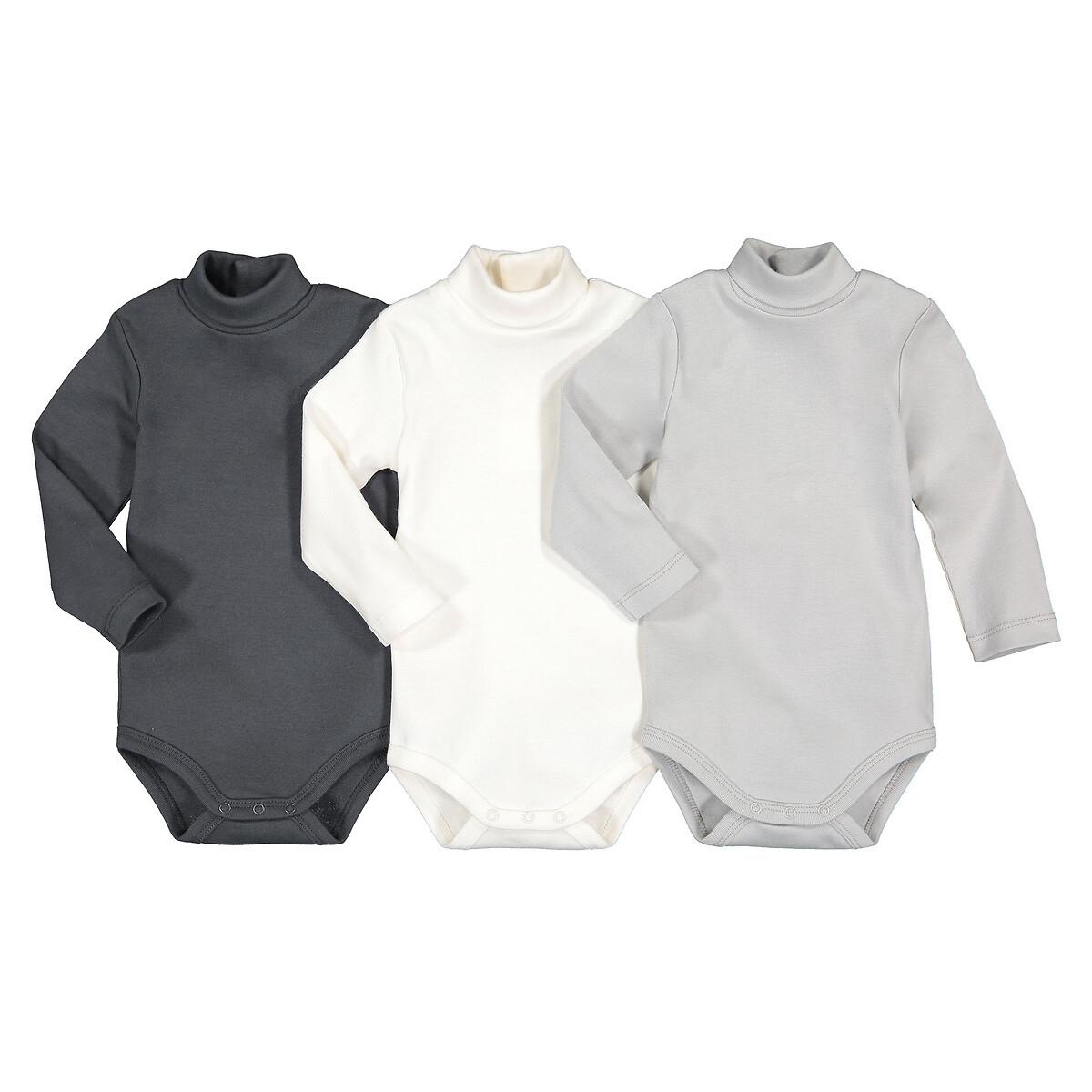 комплект из 3 футболок с laredoute длинными рукавами из биохлопка 3 мес 4 года 6 мес 67 см разноцветный Комплект из 3 боди с LaRedoute Длинными рукавами из биохлопка 3 мес - 3 года 18 мес. - 81 см серый