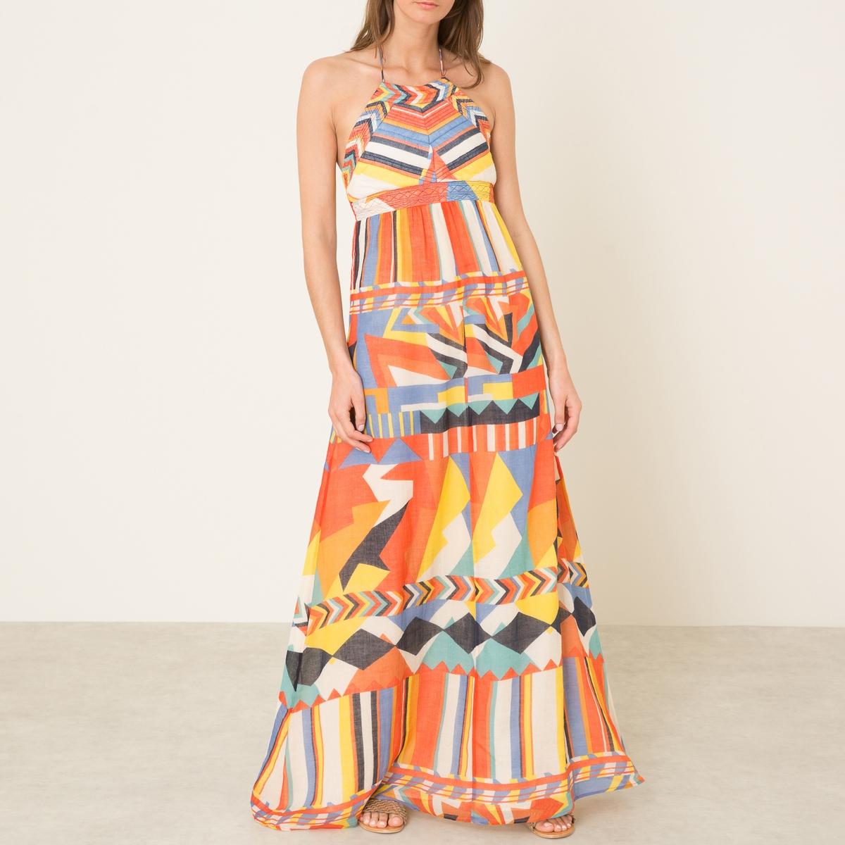 Платье FLASHПлатье длинное с открытой спинкой BA&amp;SH - модель FLASH из хлопковой вуали с принтом  . Закругленный вырез с завязками сзади . Стеганая манишка на груди . Присборенная талия . Открытая спина. Состав и описание    Материал : 100% хлопок   Марка : BA&amp;SH<br><br>Цвет: оранжевый