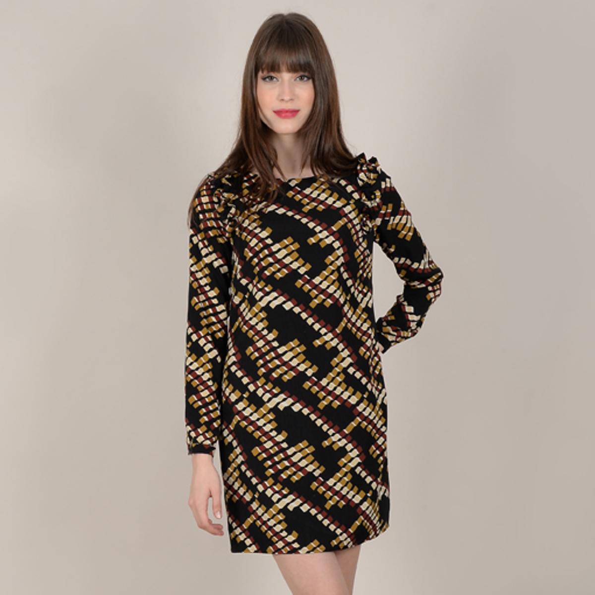 Платье La Redoute Короткое с длинными рукавами и графическим рисунком L черный платье короткое с графическим рисунком без рукавов