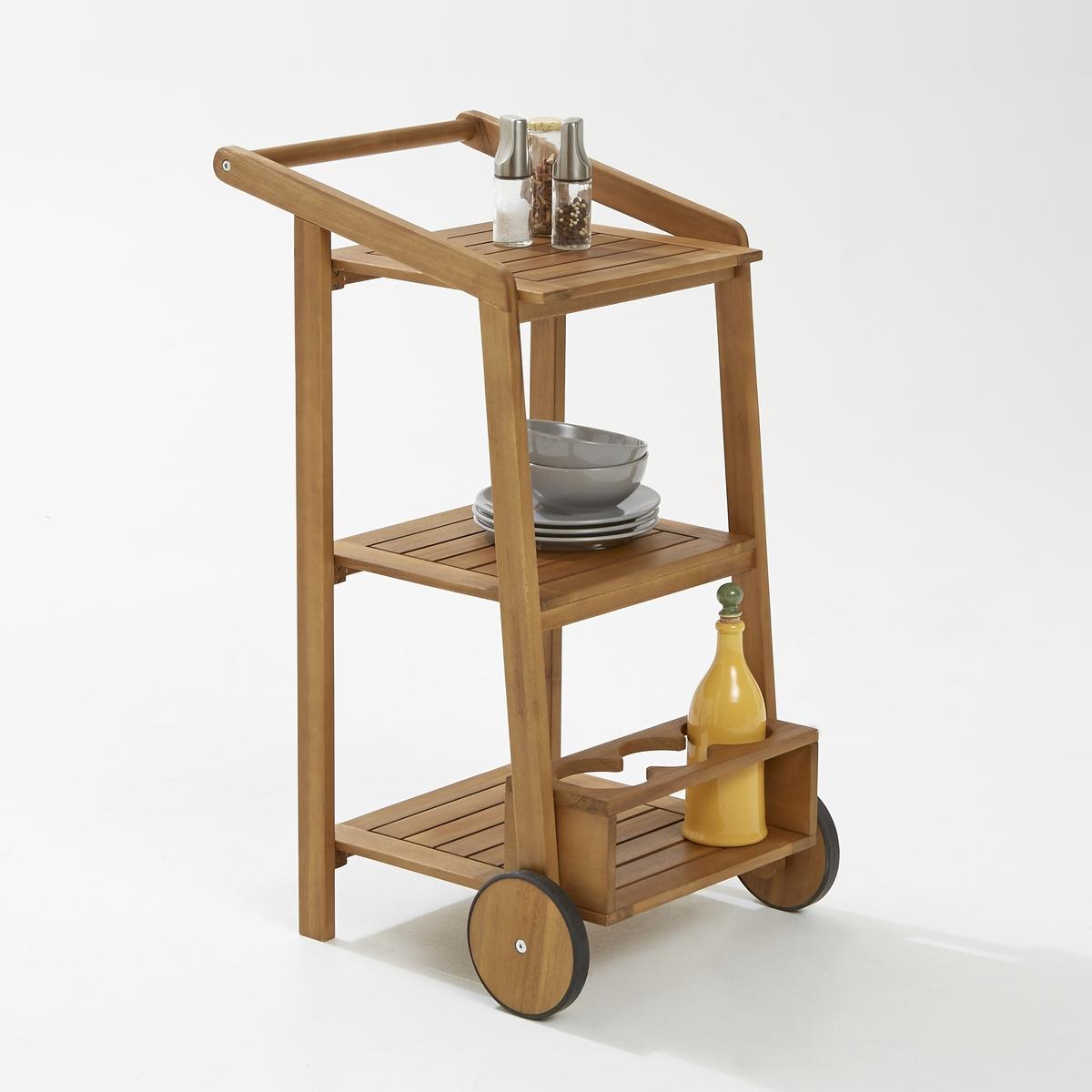 Стол на колесах с 3 полками + 1 дверь с держателем бутылокСервировочный стол, который идеально впишется в обстановку! 3 полки, держатель бутылок, колеса: удобно подавать завтрак на терассу. Дерево акации легко мыть.Характеристики сервировочного стола:Прямоугольной формы.2 колеса.3 полки.1 держатель бутылок.Дерево акации.Размеры сервировочного стола:Ширина: 45 см.Высота: 85 см.Глубина: 54 см.Вес: 6 кг.Размеры поверхности стола:Длина 35 см  x Ширина 33 см x Высота 15 см.Размеры в упаковке:длина 89 см.ширина 44.5 см.высота 13 см.Вес 7.5 кг.Качество:Акация обладает хорошими механическими свойствами (прочность, устойчивость к насекомым и грибам, устойчивость к непогоде и чередованию сухой и влажной погоды).Доставка:Стол доставляется в разобранном виде. Доставка осуществляется до квартиры!Внимание! Убедитесь, что товар возможно доставить на дом, учитывая его габариты (проходит в двери, по лестницам, в лифты).<br><br>Цвет: акация