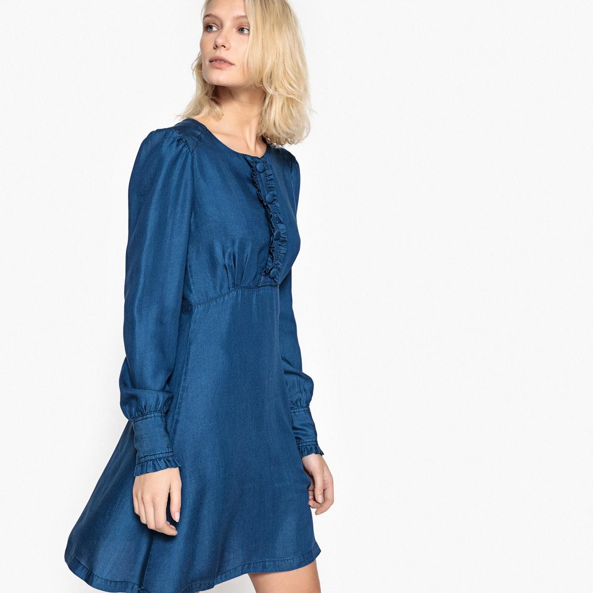Платье из денима с застежкой на пуговицы и воланами спереди