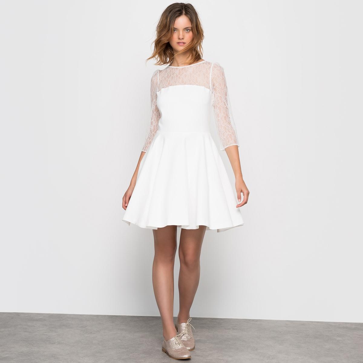 Платье свадебное короткоеСостав и описаниеМатериал 48% хлопка, 48% полиэстера, 4% эластана Длина: 92 смБренд: Mademoiselle R<br><br>Цвет: экрю<br>Размер: 44 (FR) - 50 (RUS)