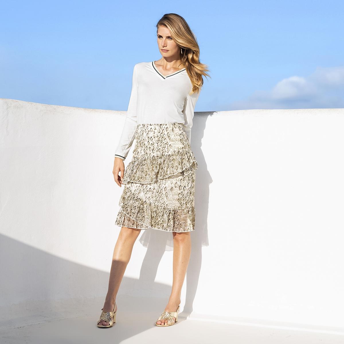 Imagen principal de producto de Falda estilo patinadora con estampado, semilarga - Anne weyburn