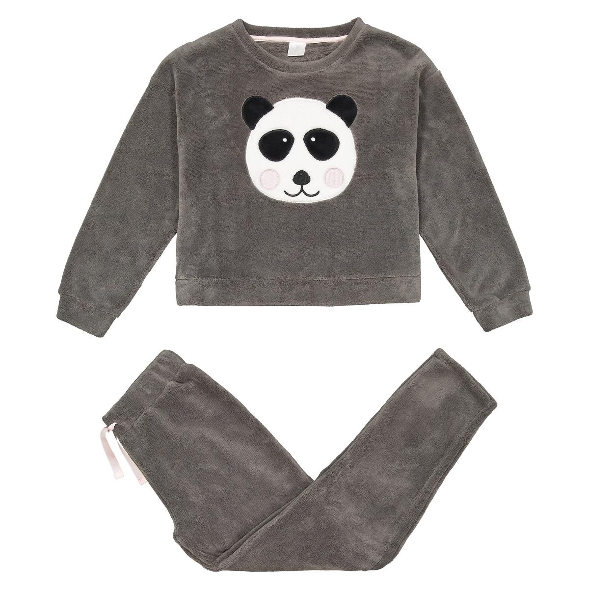 Pijama quentinho com cabeça de panda, 10-18 anos