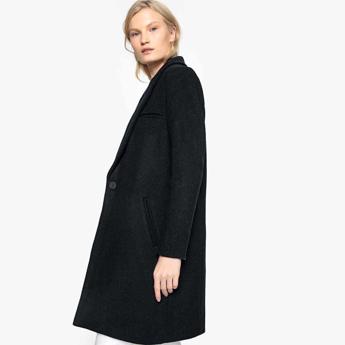 Пальто длинное в мужском стиле из полушерстяной ткани