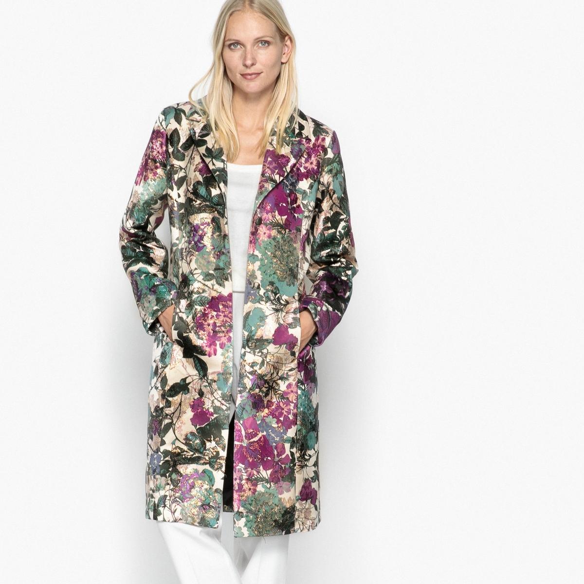 Пальто с костюмным воротником из жаккардовой ткани пальто с костюмным воротником