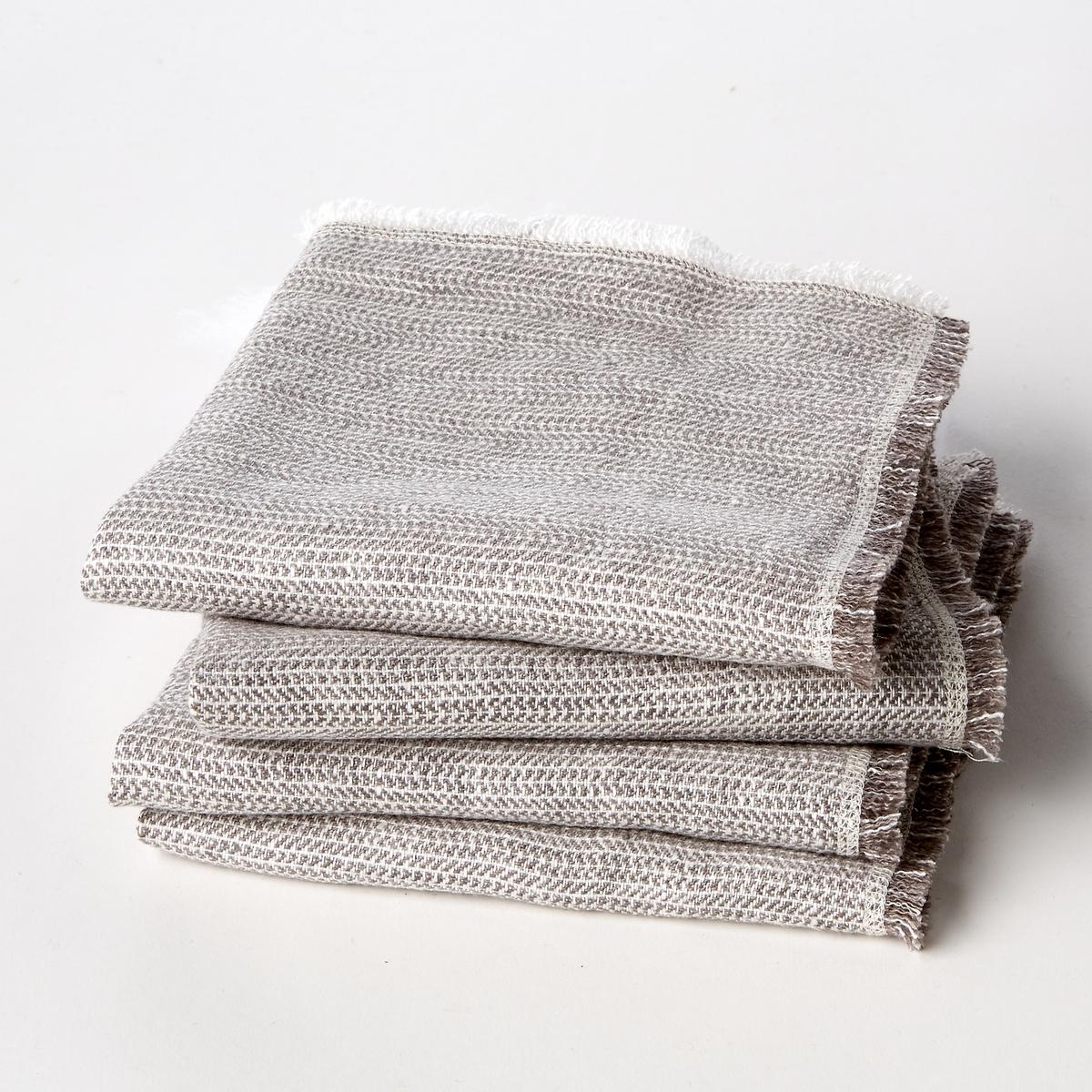4 салфетки столовых Linette, лен с зигзагообразным рисунком