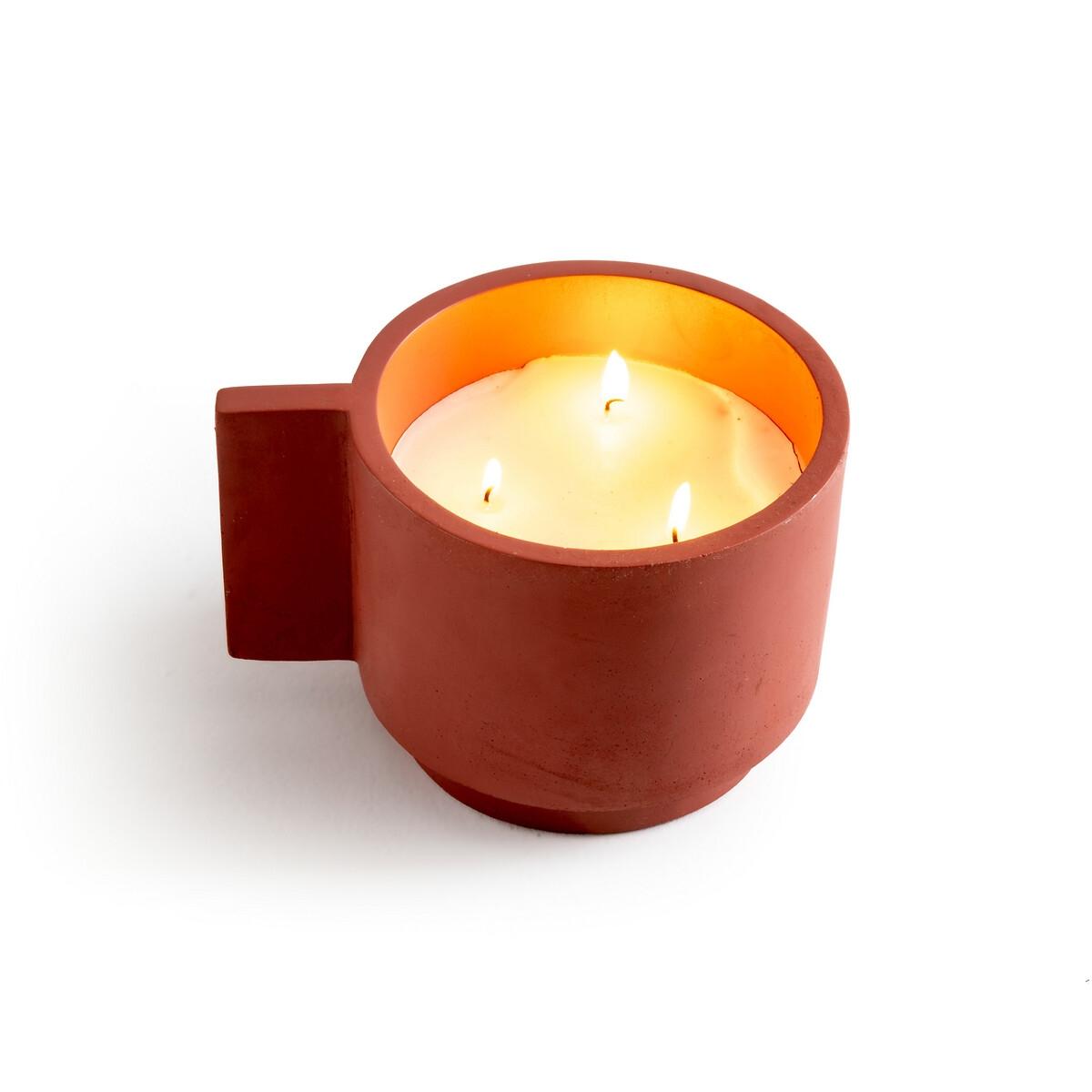 Свеча LaRedoute С 3 фитилями в цементном горшке Hempie единый размер красный
