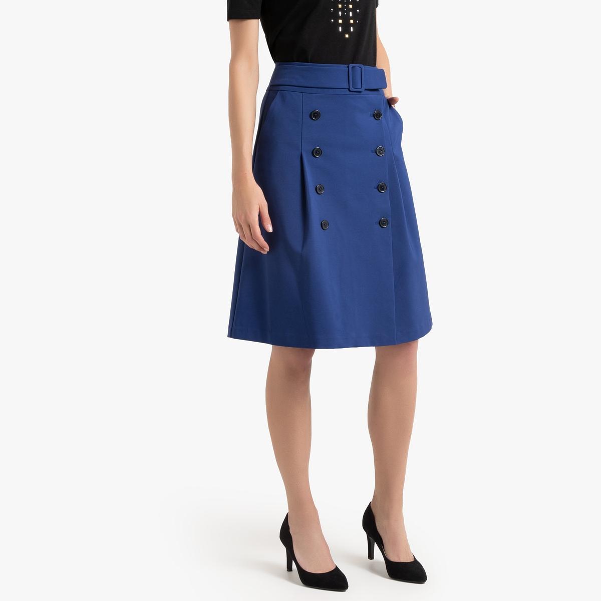 Юбка La Redoute Расклешенная с запахом 52 (FR) - 58 (RUS) синий юбка с запахом на пуговицах