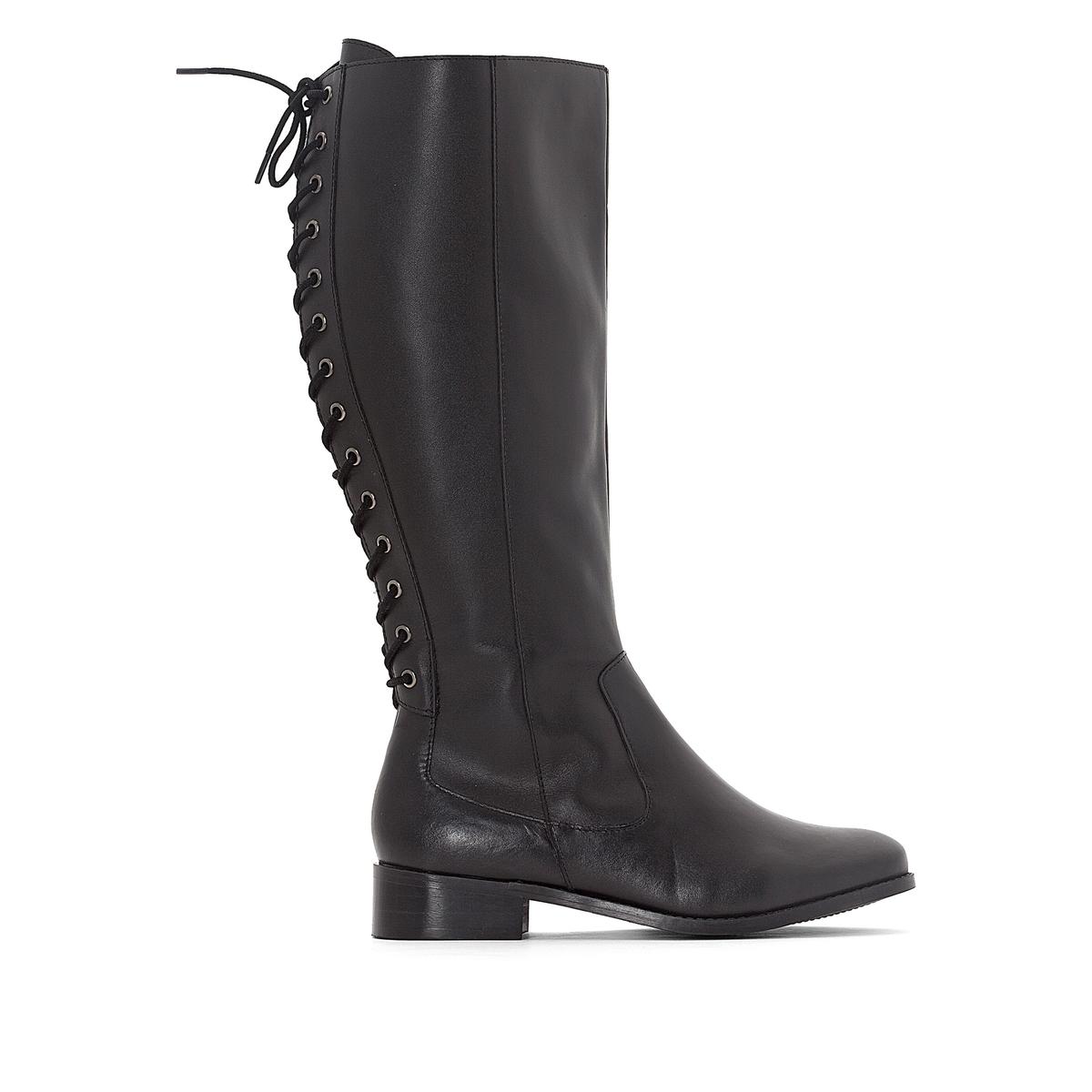 Сапоги кожаные на шнуровке сзади для широкой стопы 38-45