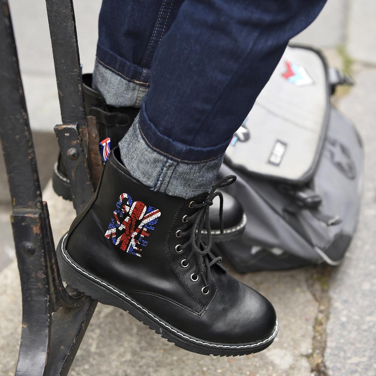 Ботинки на молнии со шнуровкой 30-39