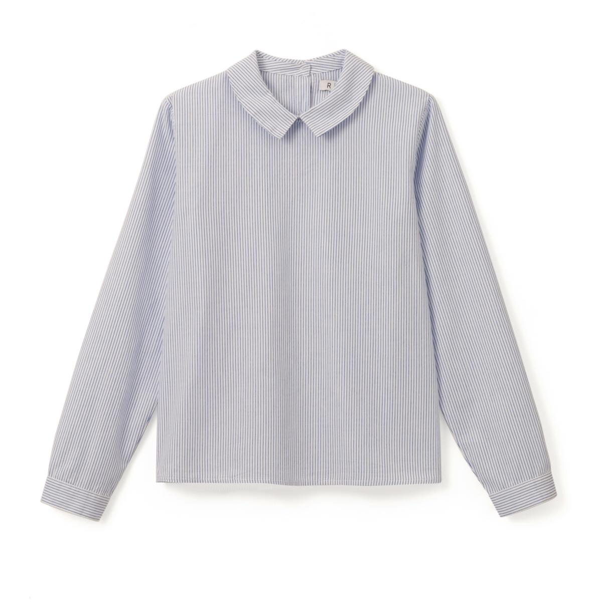 Рубашка в полоску с застежкой на пуговицы сзади, 10-16 летСостав и описание :    Материал       100% хлопок  Уход : Машинная стирка при 30 °C с вещами схожих цветов. Машинная сушка в умеренном режиме. Гладить при средней температуре.<br><br>Цвет: в полоску синий/белый<br>Размер: 12 лет -150 см