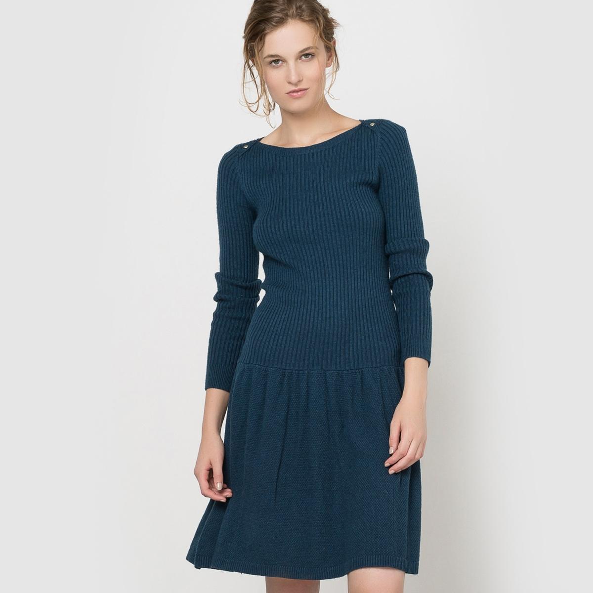 Платье из вязаного трикотажа с юбкой-годеПлатье с длинными рукавами Mademoiselle R. Верх платья из трикотажа в рубчик. Юбка-годе в форме зонта, облегающий пояс, расширяющий к низу покрой. Круглый вырез с пуговицами на плечах. Края связаны в рубчик. Состав и описаниеМарка : Mademoiselle RМатериал : 50% полиамида, 45% вискозы, 5% альпакиДлина : 92 смУходМашинная стирка при 30 °C   Стирать с вещами схожих цветовСтирать и гладить при очень низкой температуре с изнаночной стороны<br><br>Цвет: серый меланж,сине-зеленый<br>Размер: 34/36 (FR) - 40/42 (RUS).42/44 (FR) - 48/50 (RUS)
