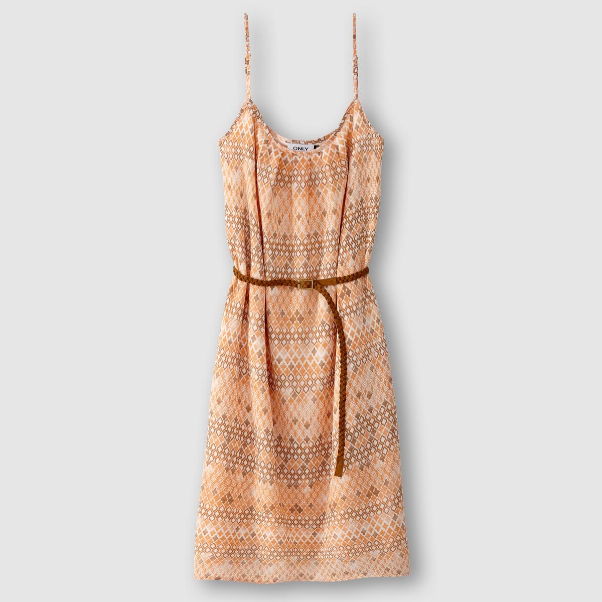Платье без рукавов с этническим рисунком