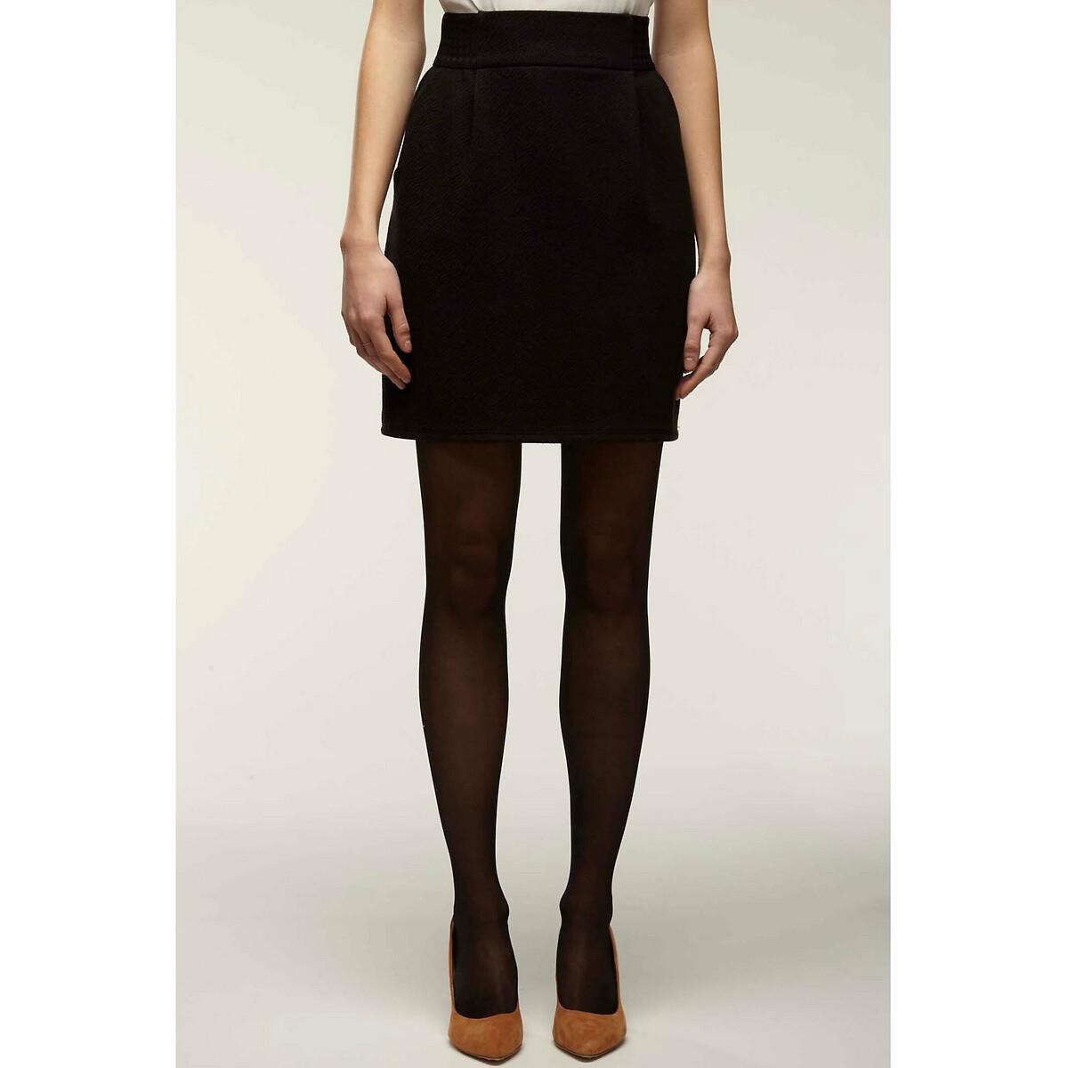 Юбка La Redoute Короткая с эластичным поясом 38 (FR) - 44 (RUS) черный юбка la redoute короткая прямая из ткани с пропиткой 40 fr 46 rus черный
