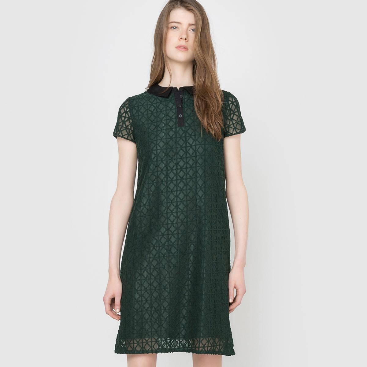 Платье из кружева с рубашечным воротником