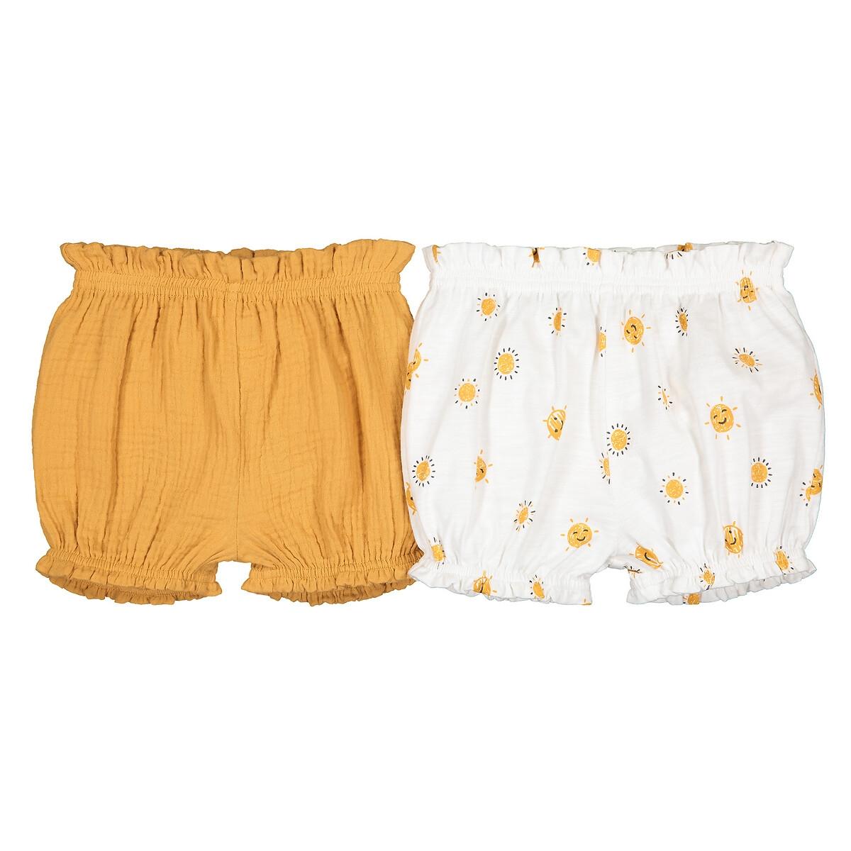 Комплект из 2 шортов 1 LaRedoute Мес - 3 года 9 мес. - 71 см желтый брюки laredoute из мольтона с бантом 1 мес 3 года 9 мес 71 см розовый