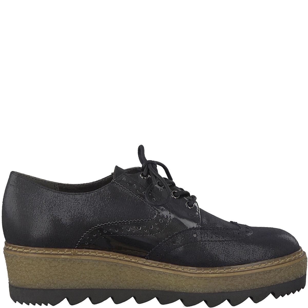 Ботинки-дерби тканевыеДетали  •  Ботинки-дерби •  Высота каблука : 4 см •  Застежка : шнуровка •  Круглый мысокСостав и уход  •  Верх  50% синтетического материала, 50% текстиля •  Подкладка 50% синтетического материала, 50% текстиля<br><br>Цвет: черный/серый