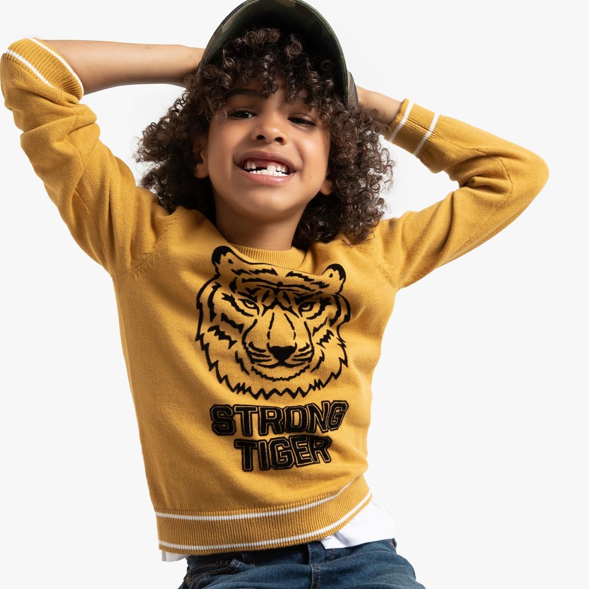 Пуловер La Redoute С круглым вырезом и бархатистым рисунком голова тигра 3 года - 94 см желтый футболка la redoute с круглым вырезом и принтом спереди 3 года 94 см серый