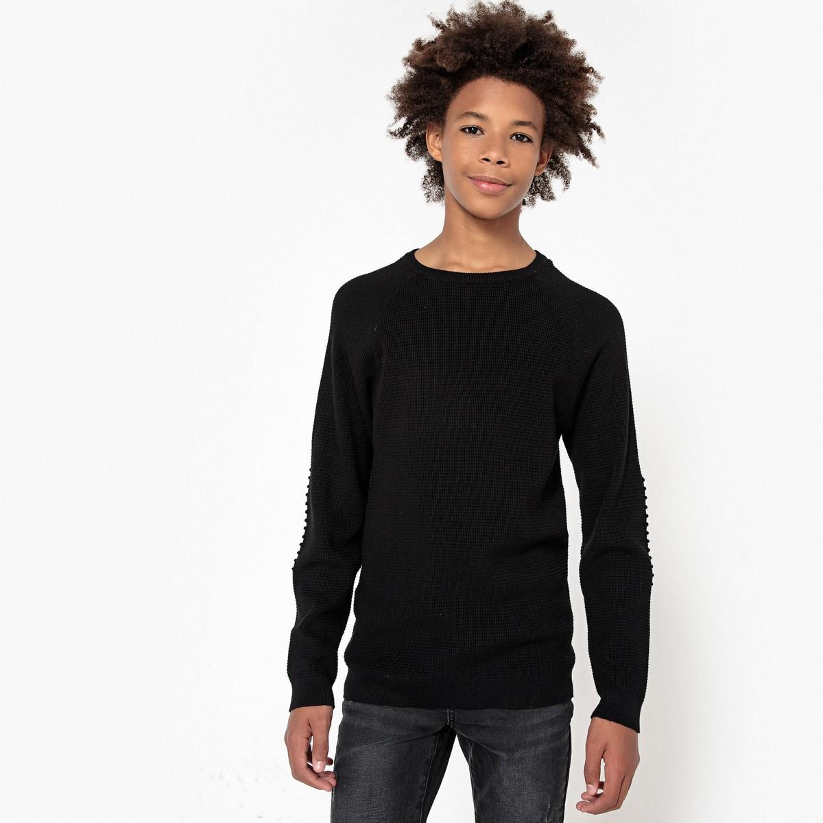 Пуловер La Redoute С круглым вырезом 10 лет - 138 см черный