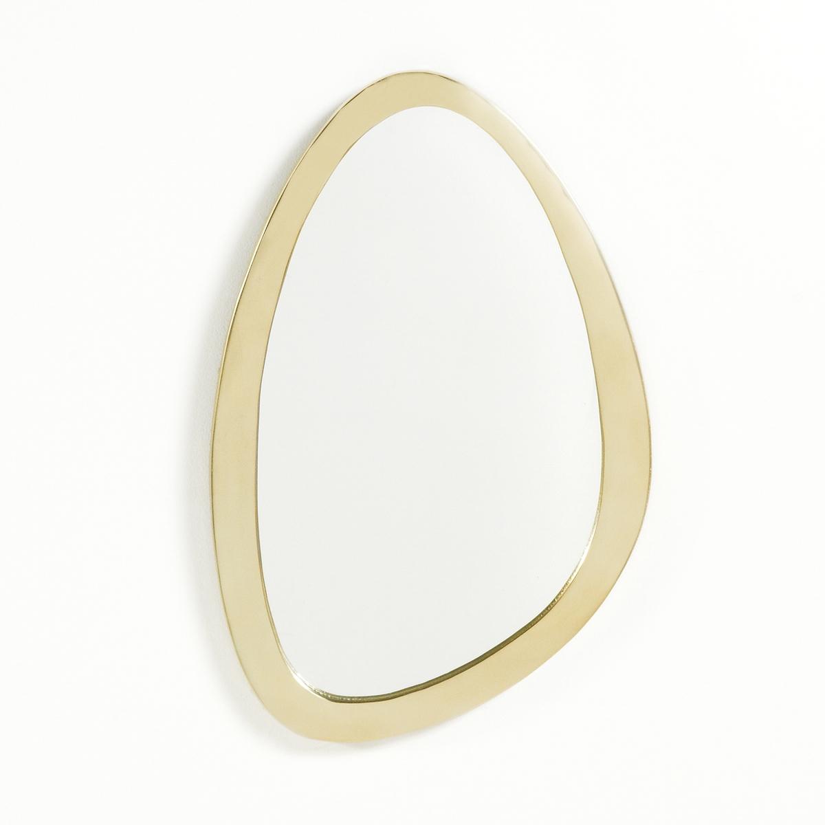 Зеркало латунноеЭто оригинальное зеркало в стиле 60-х удивит Ваших гостей своим необычным дизайном и подчеркнет Ваш вкус.  Характеристики зеркала:Литая алюминиевая оправа с латунной отделкой.2 крючка для крепления на стену (горизонтально или вертикально)- Шурупы и дюбеля не прилагаются.Размеры зеркала:Д26 x В40 см<br><br>Цвет: латунь<br>Размер: единый размер