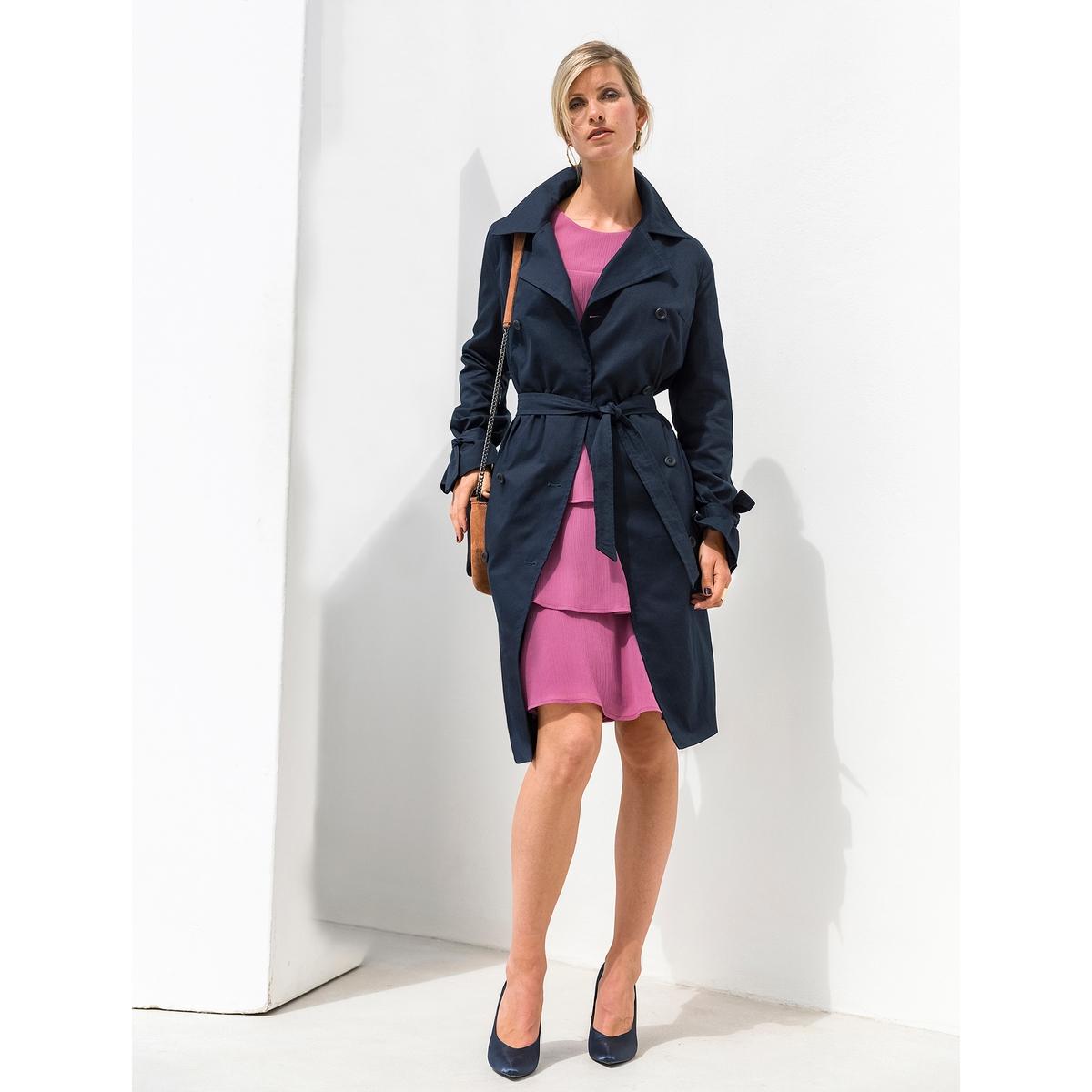 Imagen secundaria de producto de Vestido con volante de crepé arrugado - Anne weyburn