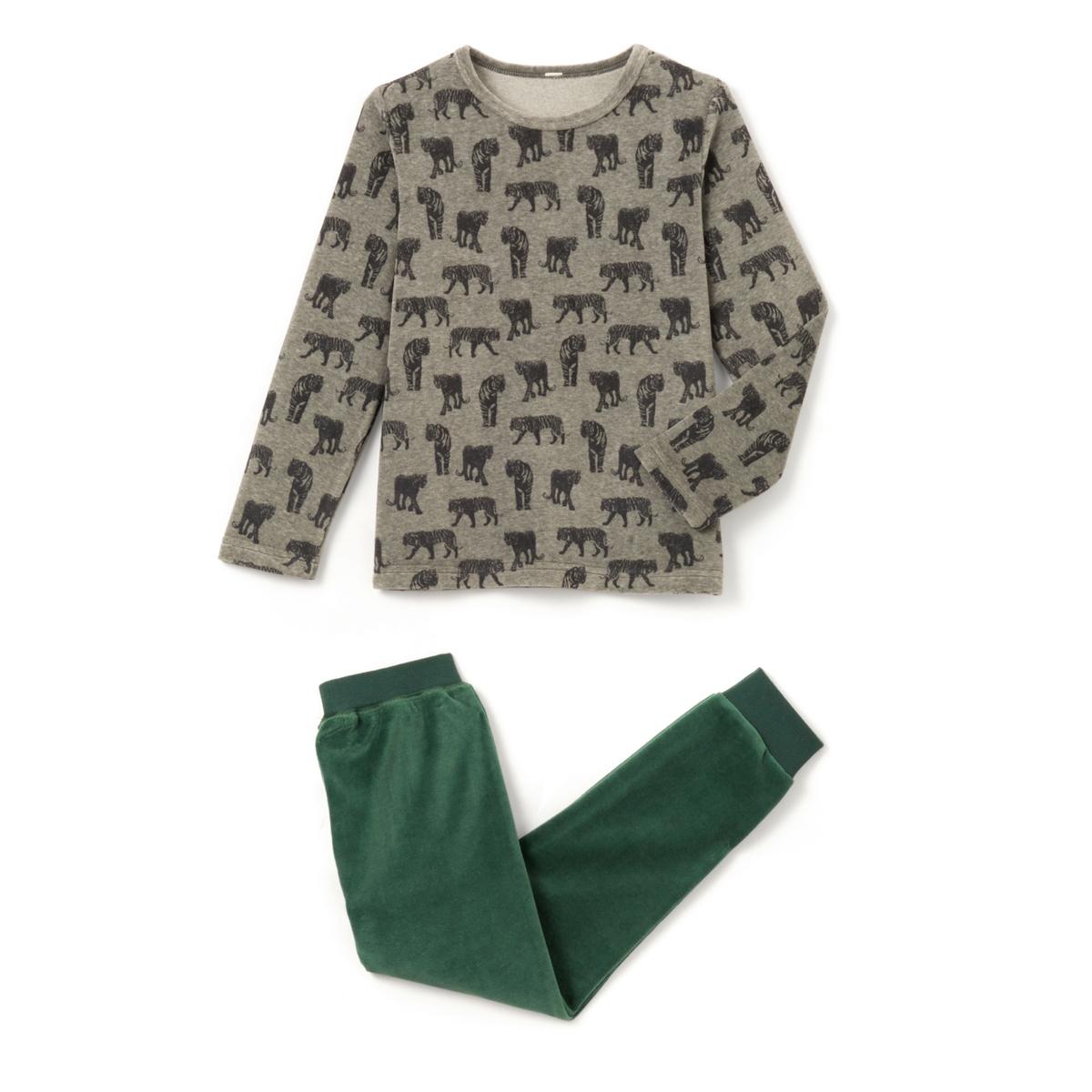 Пижама из велюра с принтом тигры 2-12 лет