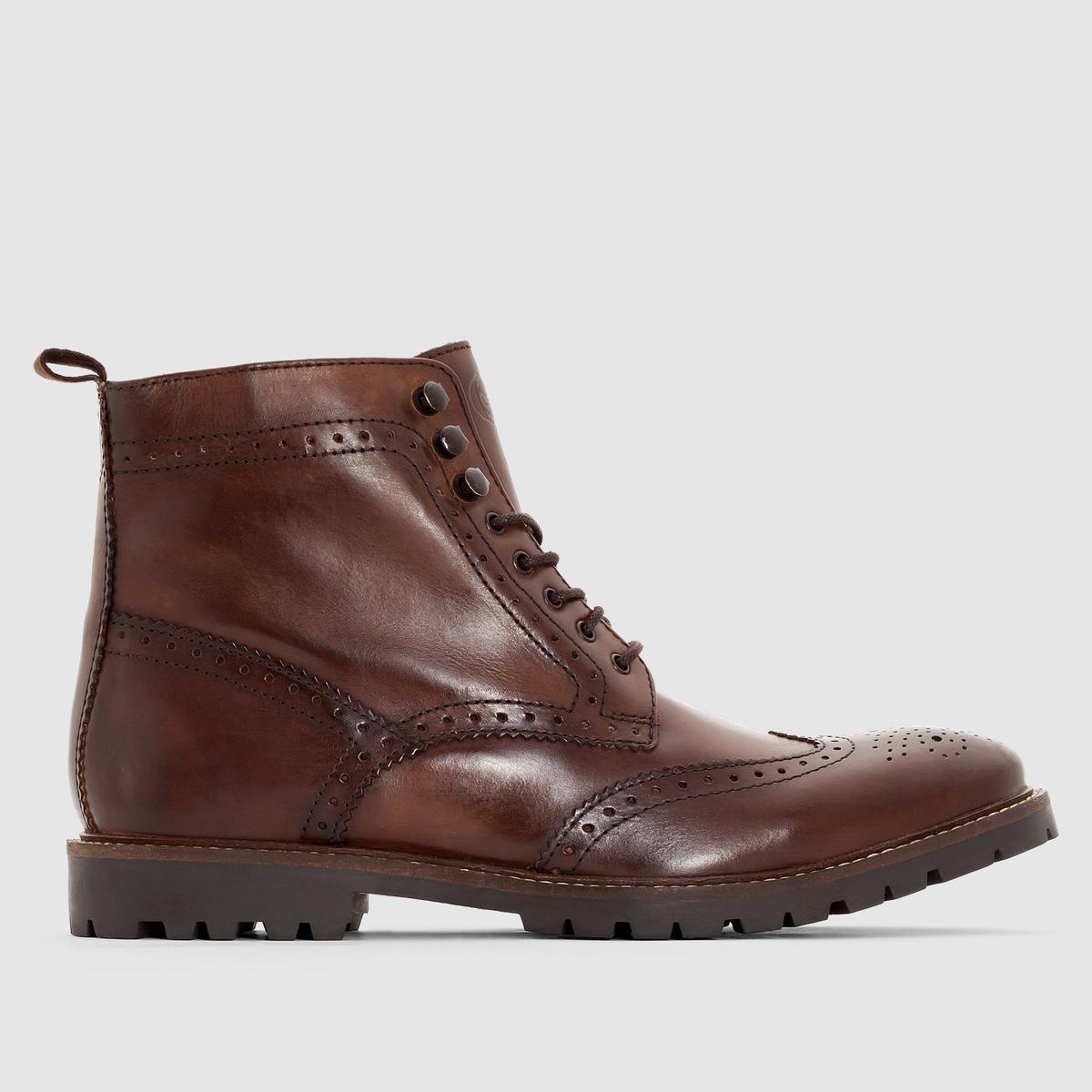 Ботильоны из кожи BASE LONDON TROOPПреимущества : ботильоны BASE LONDON на шнуровке, рифленой подошве и с очень стильным носком с цветочным принтом, модная кожа с эффектом патины .<br><br>Цвет: каштановый,черный<br>Размер: 44
