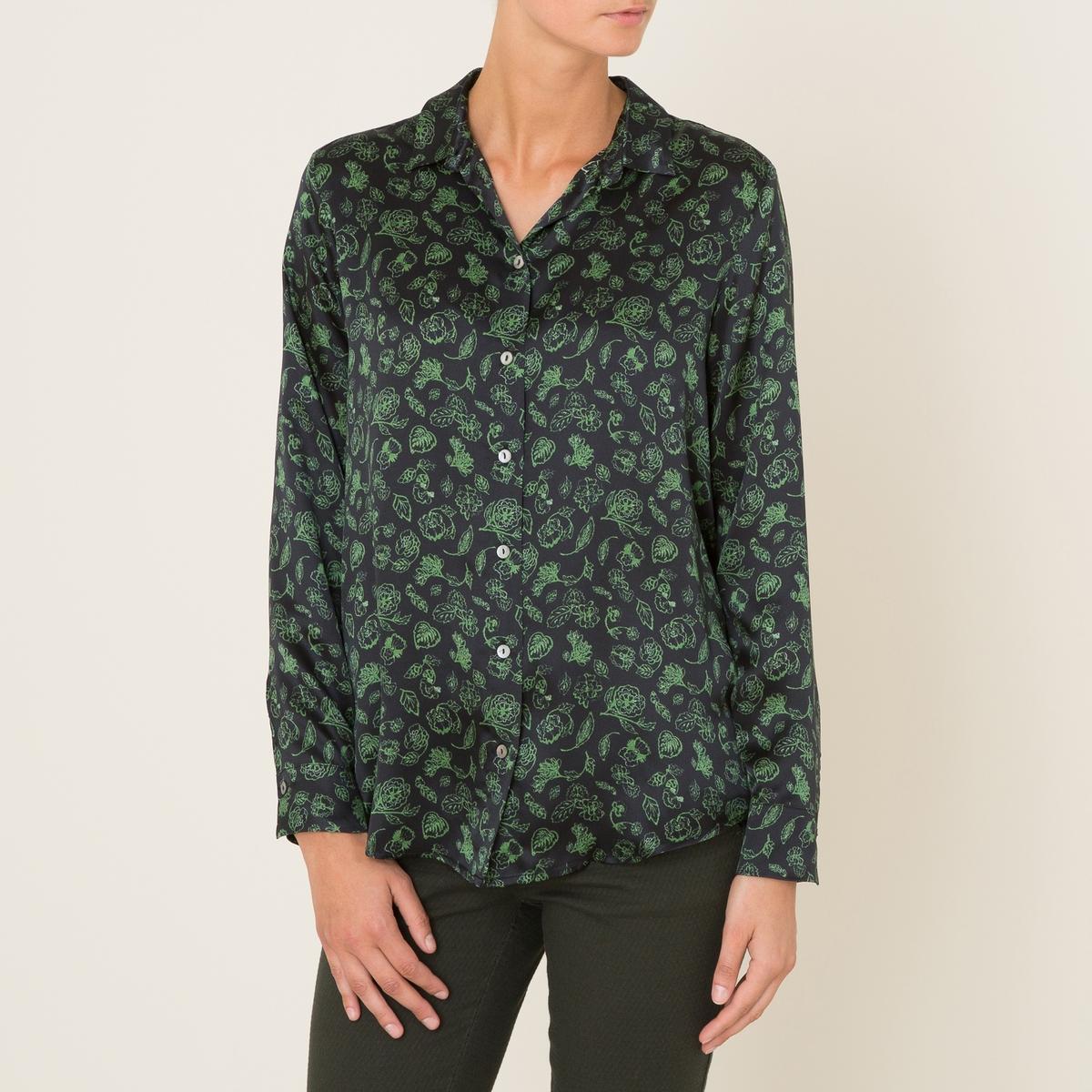 Рубашка CABIRIРубашка MOMONI - модель CABIRI . Сплошной принт. Рубашечный воротник. Застежка на пуговицы спереди. Закругленный низ, более длинная спинка.Состав и описание Материал : 100% шелка.Марка : MOMONI<br><br>Цвет: черный
