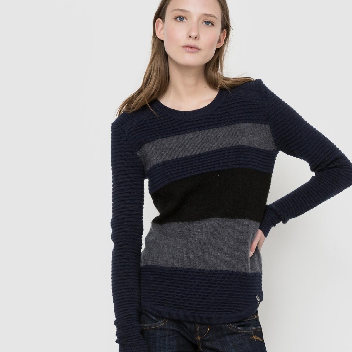 Пуловер в полоску с длинными рукавамиУходРучная стирка.Сушить на горизонтальной поверхности в расправленном состоянии.Гладить при температуре не выше 110°C.Сухая (химическая) чистка разрешена.<br><br>Цвет: темно-синий/ серый