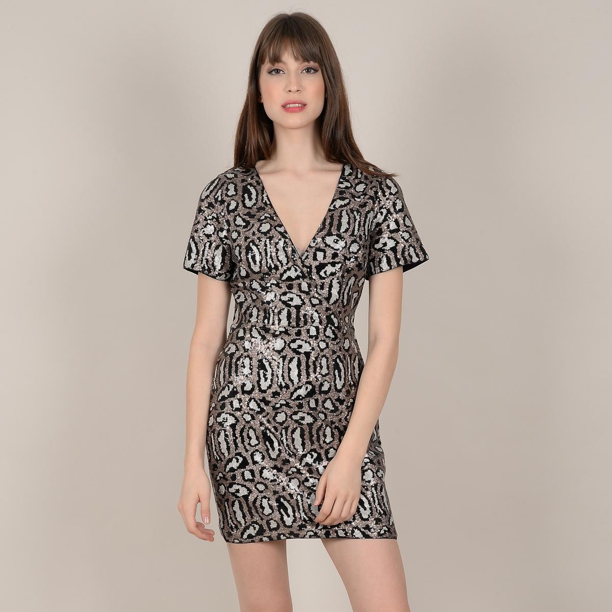 Платье La Redoute С анималистичным рисунком с блестками V-образным вырезом и короткими рукавами XS желтый платье la redoute с рисунком пальмы v образным вырезом и короткими рукавами xs бежевый