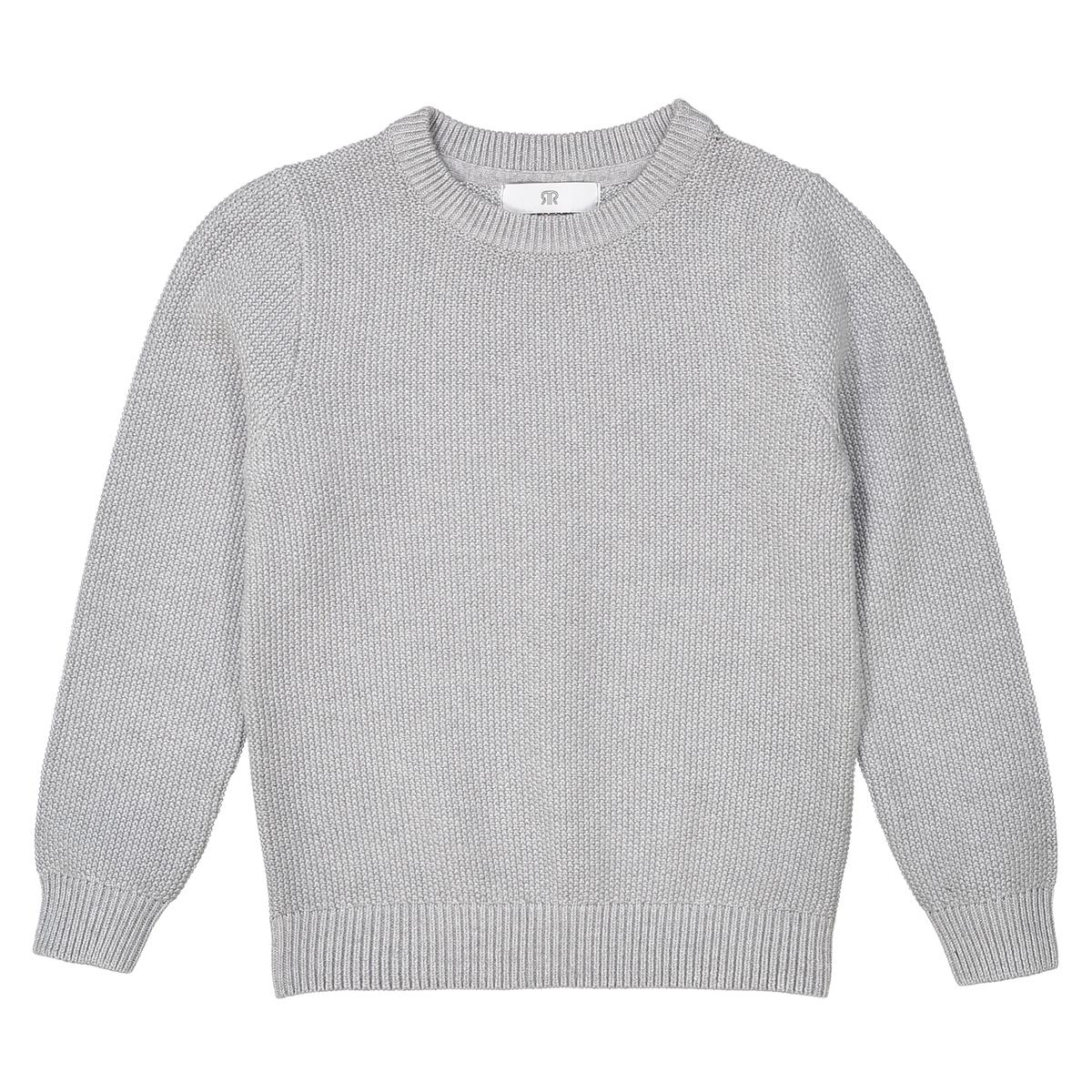 Пуловер La Redoute С круглым вырезом 3 года - 94 см серый футболка la redoute с круглым вырезом и принтом спереди 3 года 94 см серый