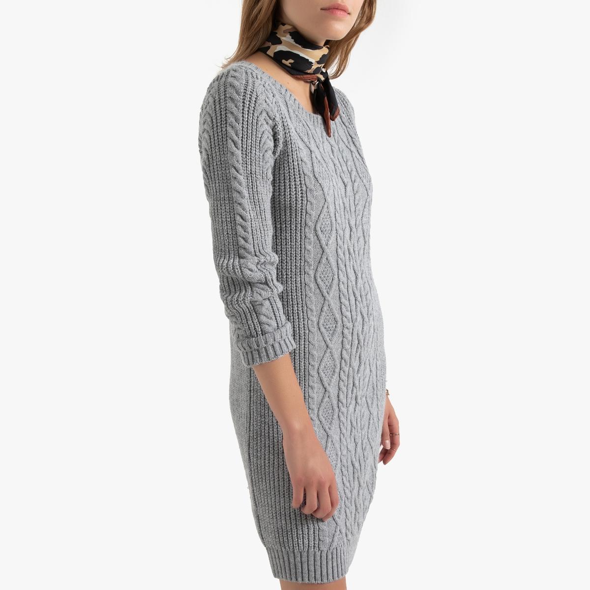 цена Платье-пуловер La Redoute Короткое с длинными рукавами и узором косы L серый онлайн в 2017 году