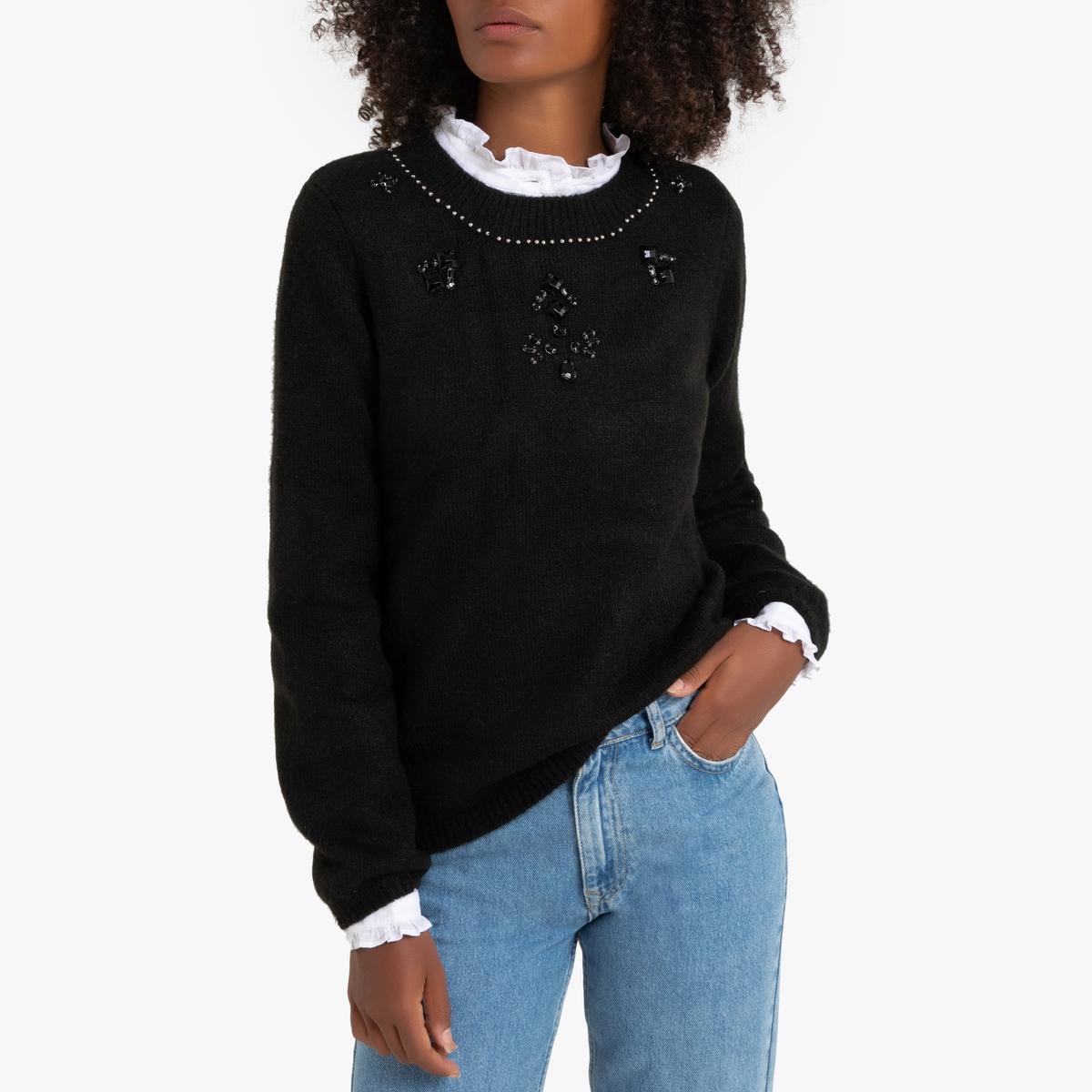 Пуловер La Redoute С воротником-стойкой с украшением S черный