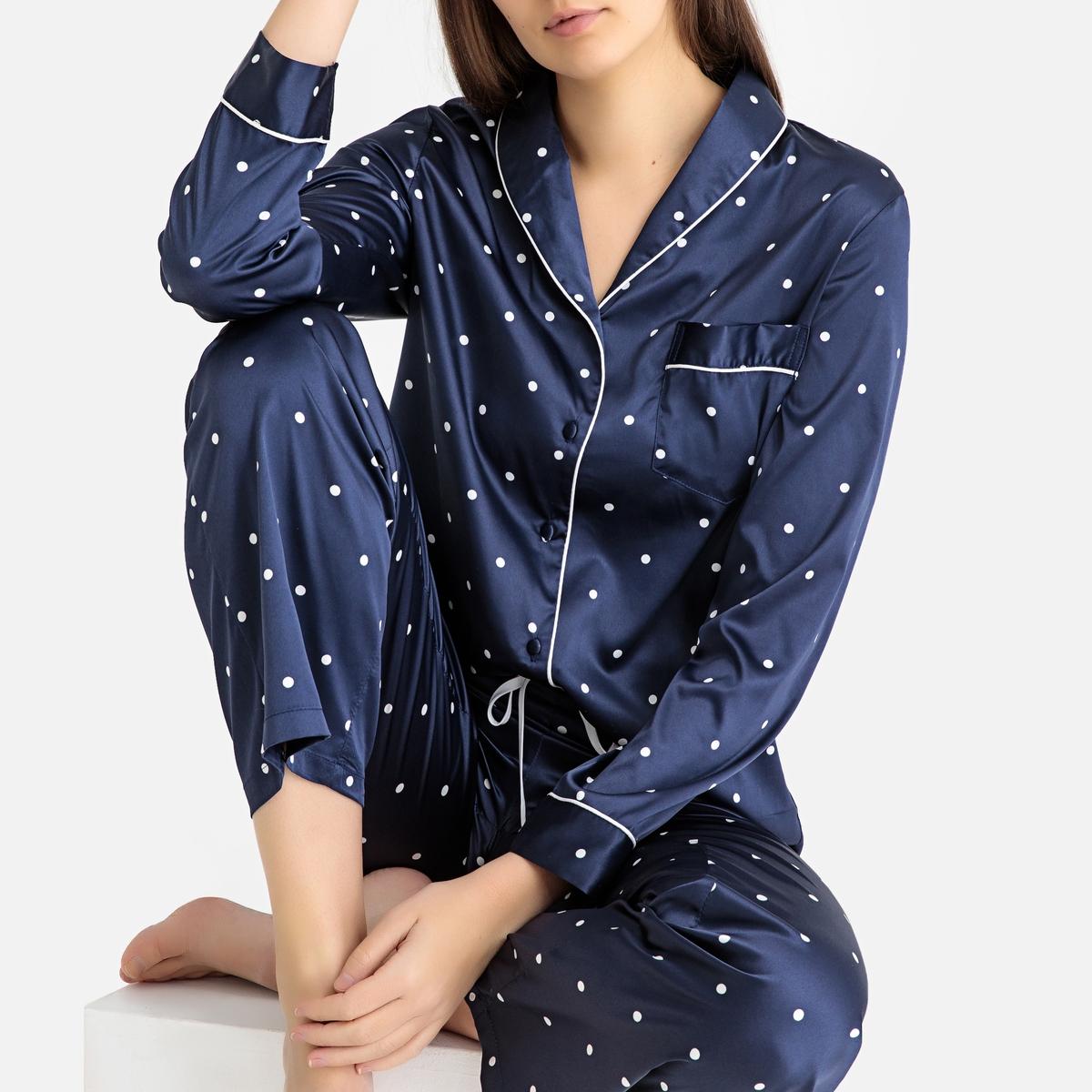 Pijama de satén de lunares