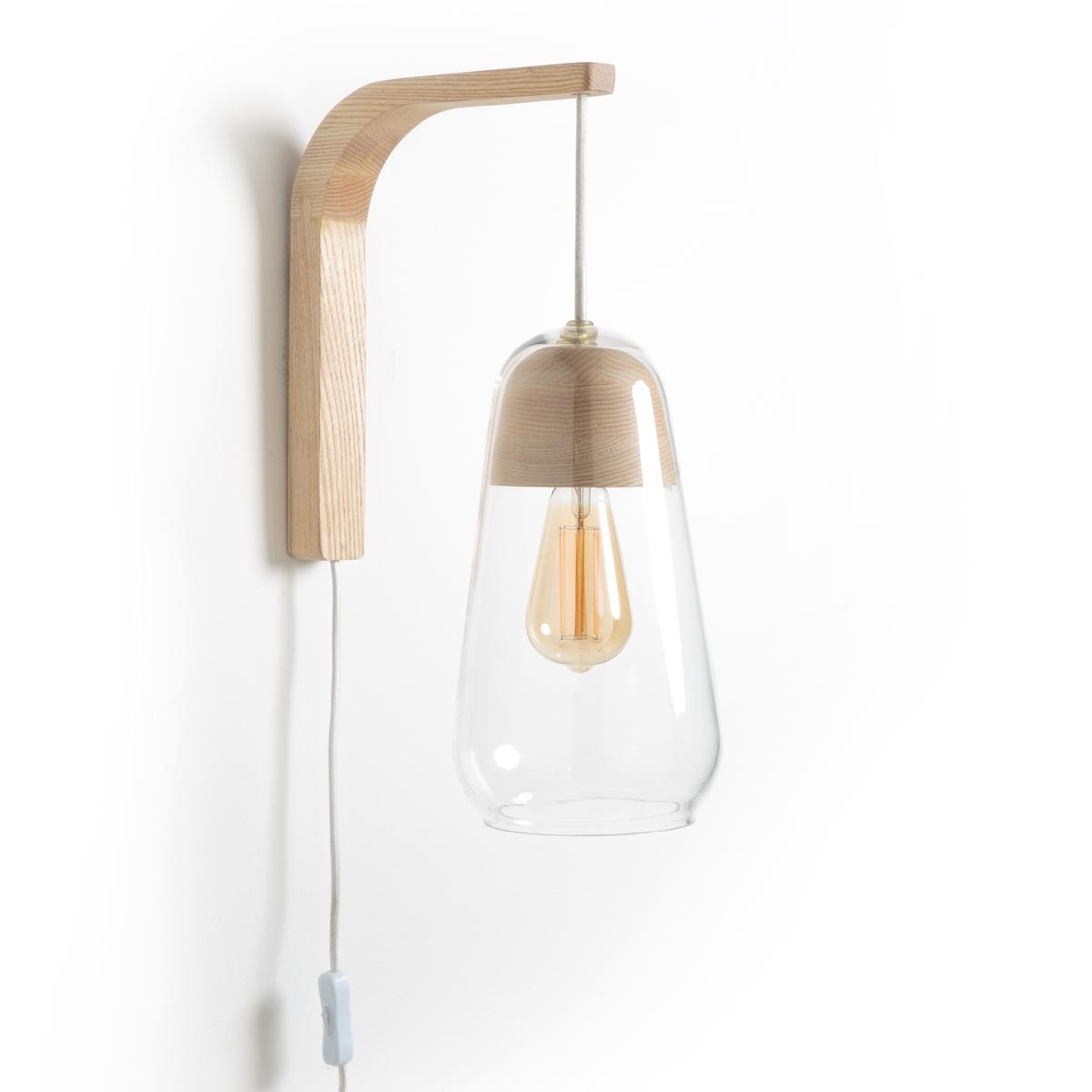 Nasoa Contemporary Wall Light In Glass & Wood
