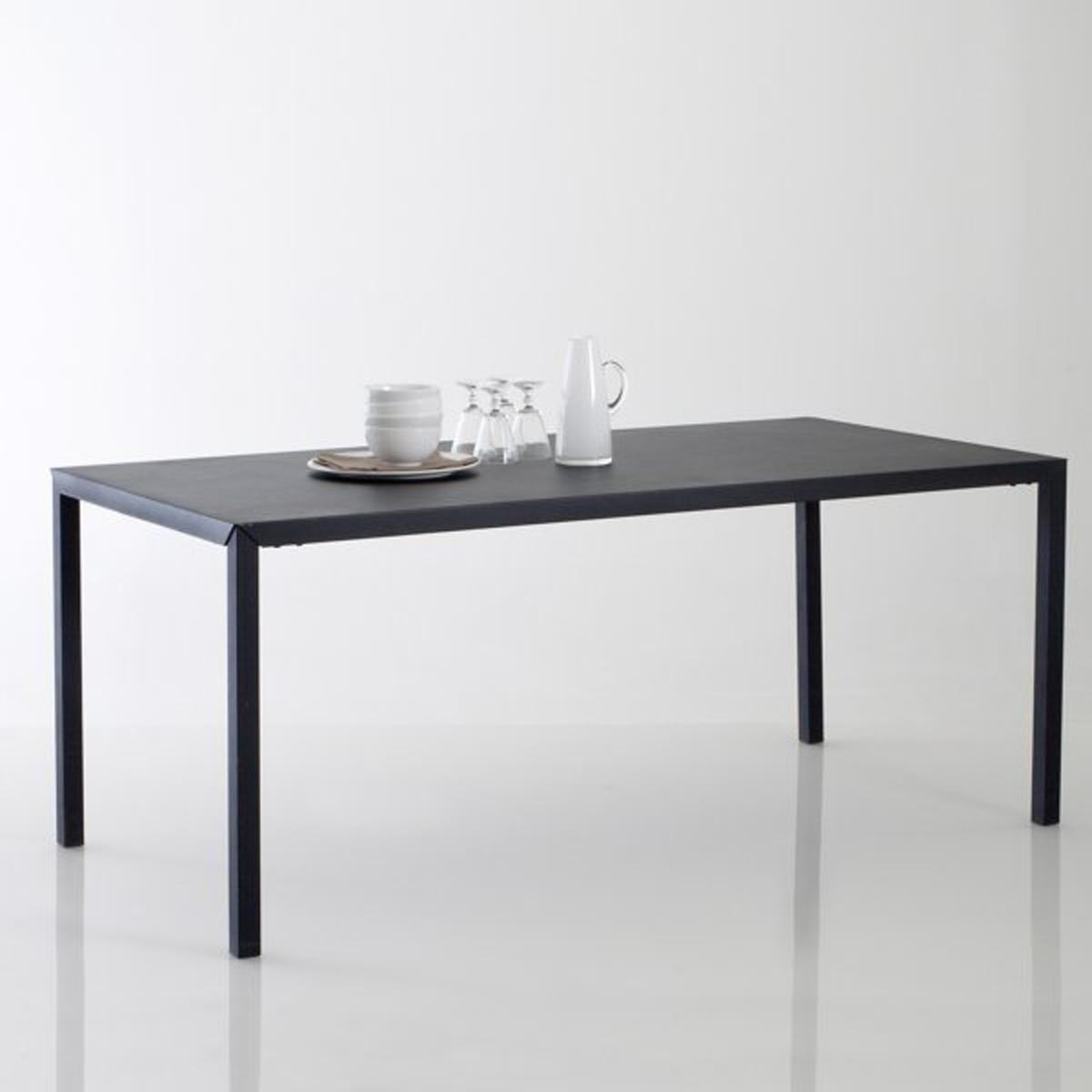 Стол La Redoute Обеденный из черного матового металла на приборов Hiba 6 персоны черный стол la redoute с инкрустацией на персон mosaque 6 персоны бежевый