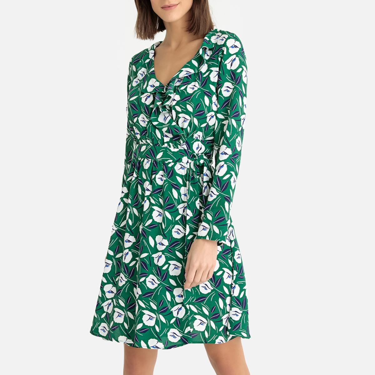 Платье La Redoute С запахом с рисунком LALY MINI CROCUS L зеленый платье длинное с запахом с рисунком coming
