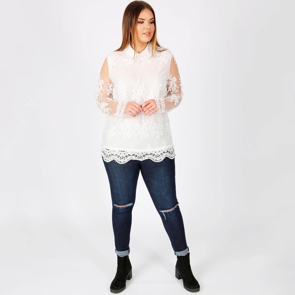 Блузка однотонная с воротником-поло и длинными рукавами футболка с воротником поло длинными рукавами и пуговицами спереди