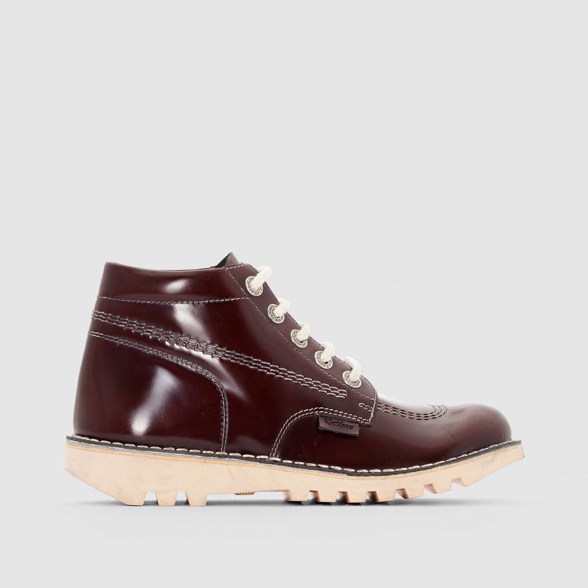 Ботильоны из кожи на шнуровке NeorallyeВерх/ Голенище : Кожа      Подкладка : Спилок кожи      Стелька : Спилок кожи Подошва : каучук.     Высота каблука : 2,5 см.     Высота голенища : 9 см.     Застежка : шнуровка.<br><br>Цвет: бордовый<br>Размер: 40
