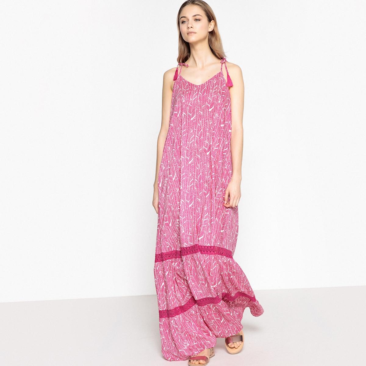 Платье длинное с этническим рисунком и открытой спинкой