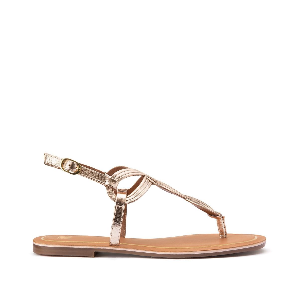 Фото - Сандалии LaRedoute Кожаные на плоском каблуке 37 золотистый балетки laredoute на плоском каблуке с рисунком под кожу питона 37 каштановый