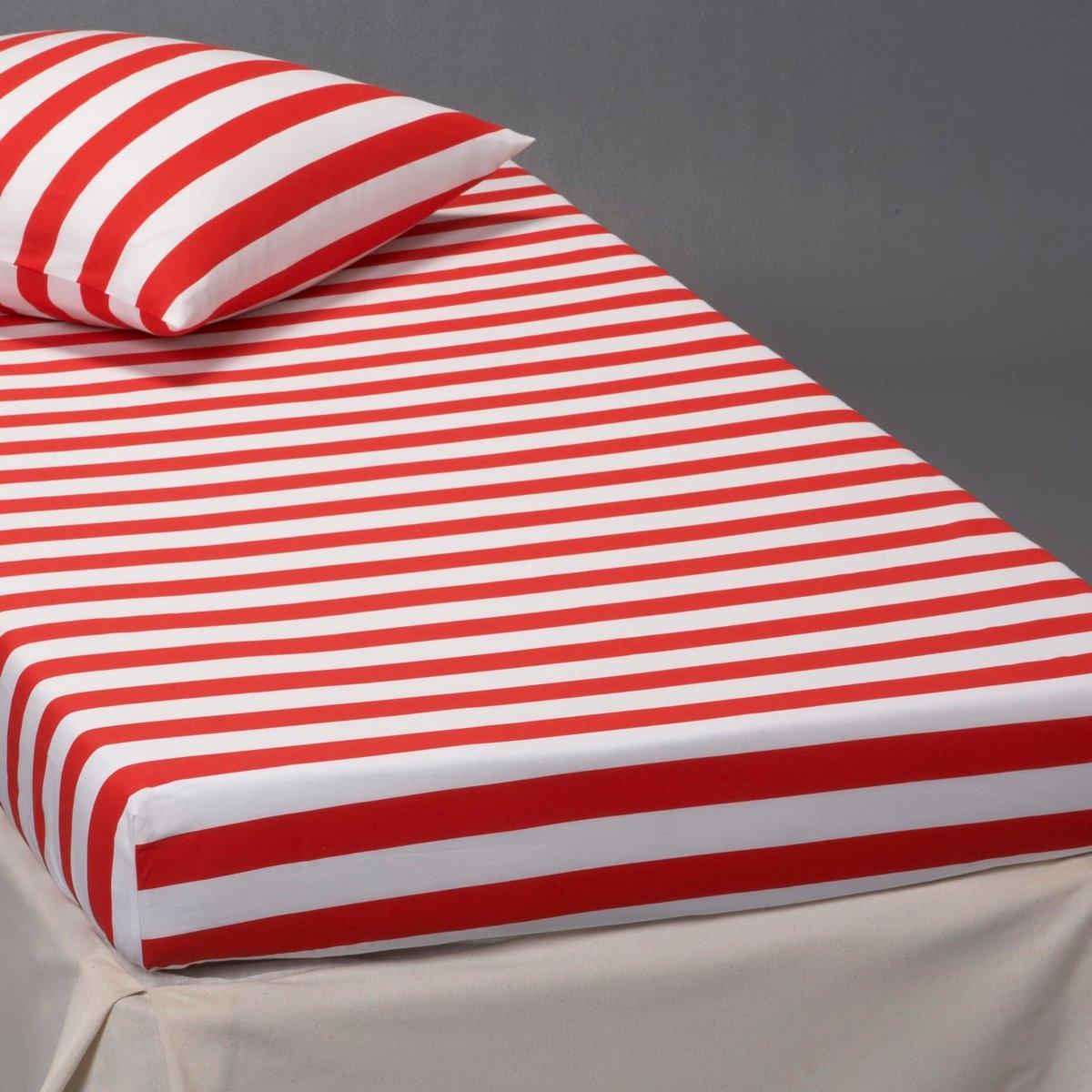 Натяжная простыня ПиратВ горизонтальную красно-белую полоску. 90 х 190 см (1-сп). 100% хлопка. Плотное переплетение нитей. Стирка при 60°.<br><br>Цвет: красный/ белый