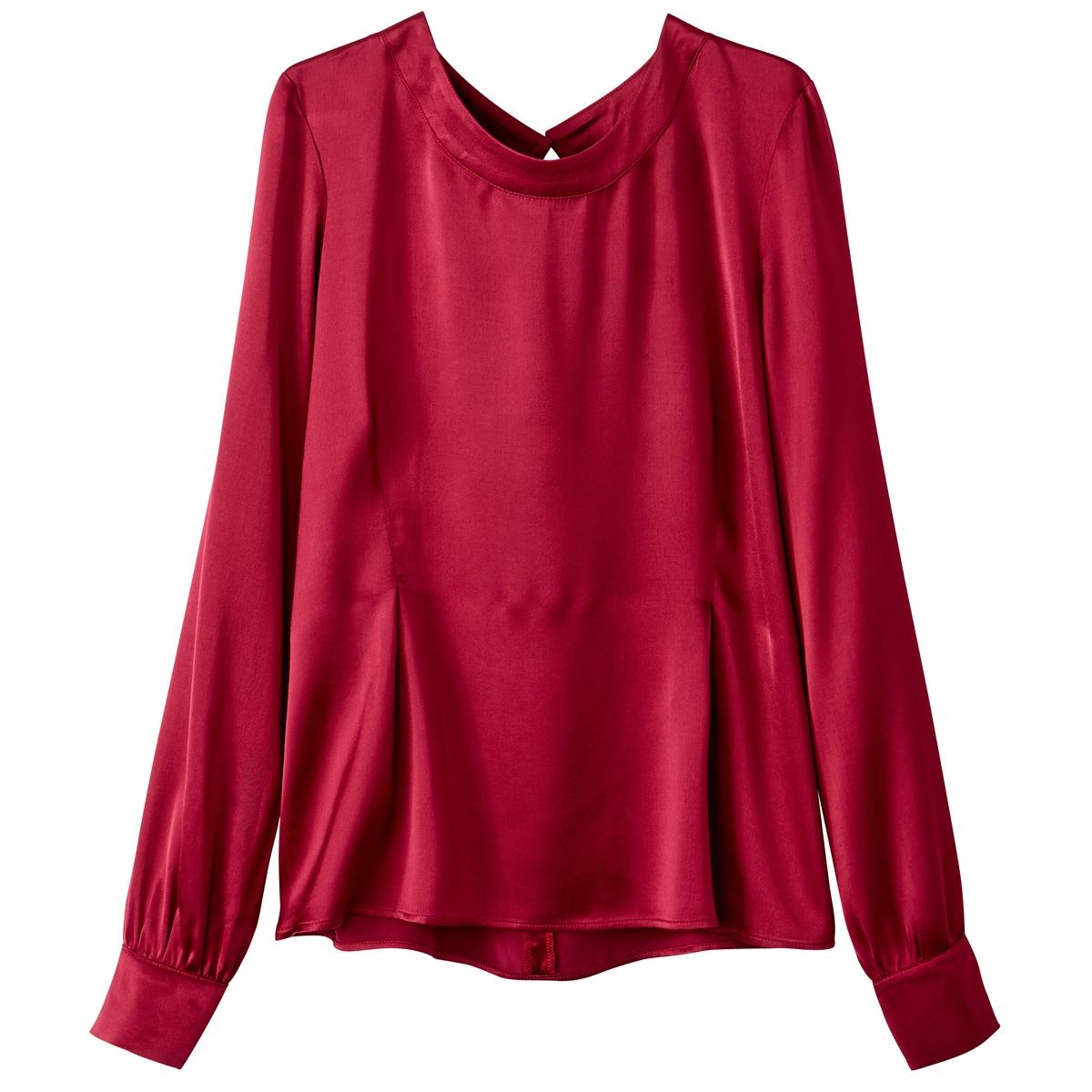 Блузка с круглым вырезом и рукавами с напуском, с шелковым эффектом