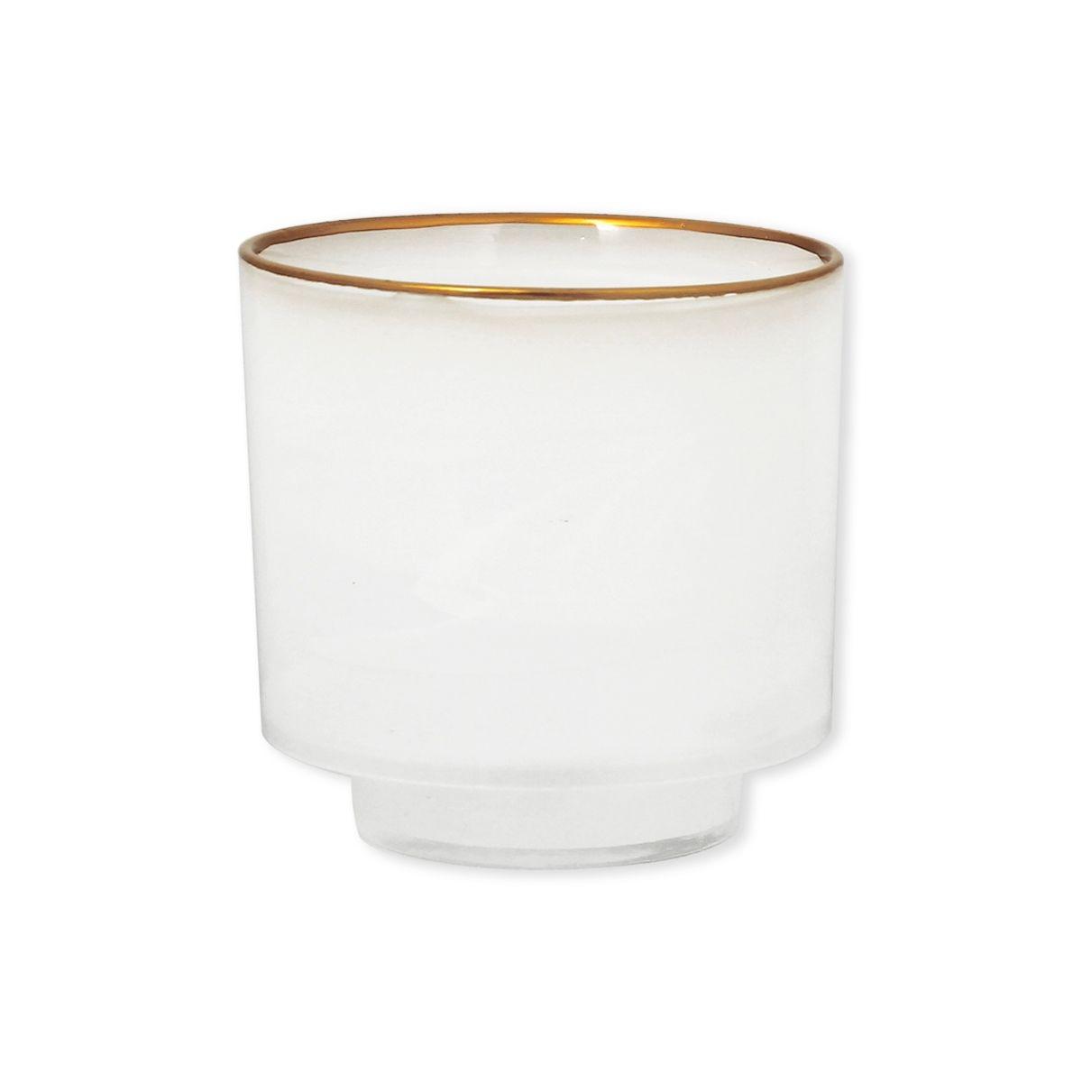Photophore blanc en verre filet or 10cm - Lot de 2 - LORADA